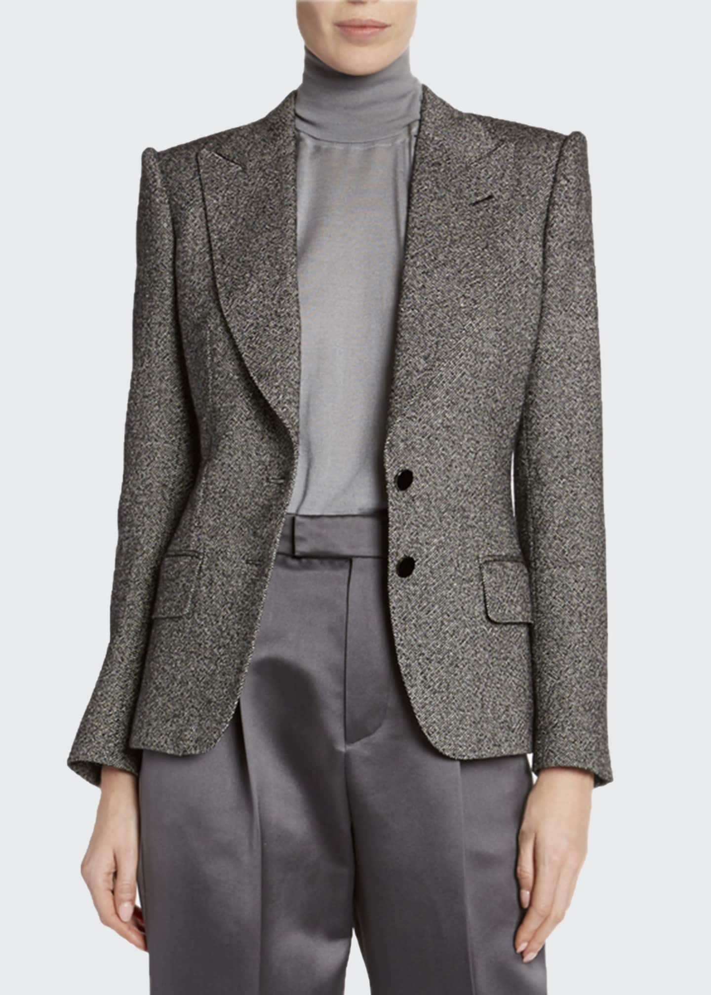 Image 1 of 3: Donegal-Tweed Strong-Shoulder Jacket