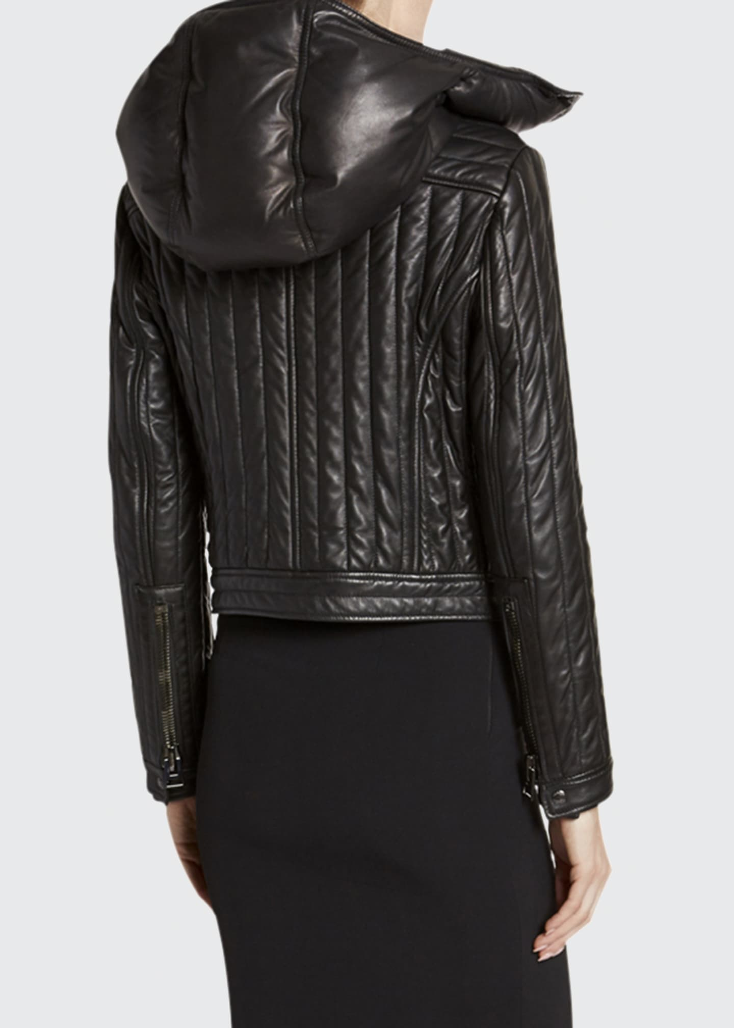 Image 2 of 3: Leather Channeled Zip-Front Jacket