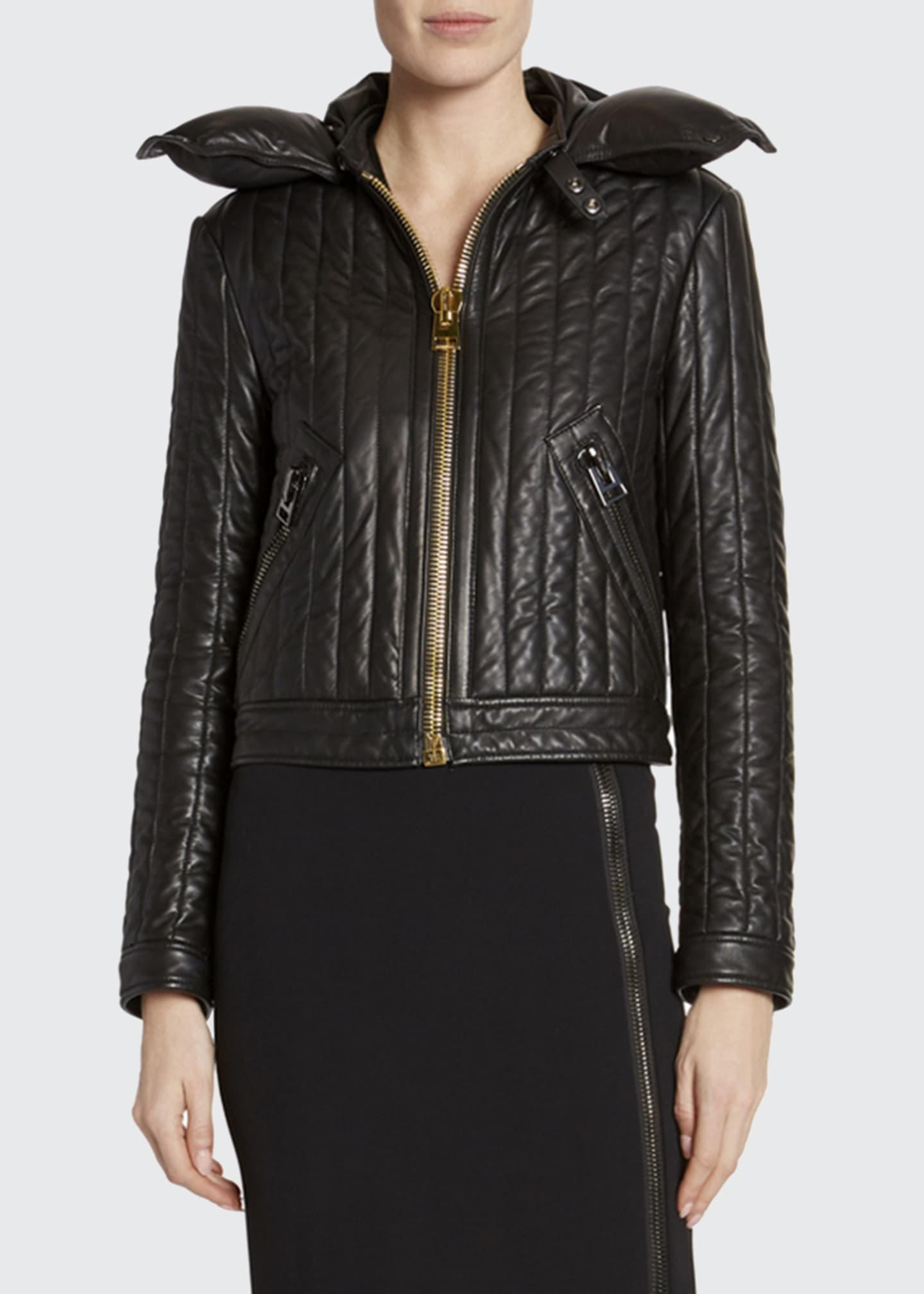 Image 3 of 3: Leather Channeled Zip-Front Jacket