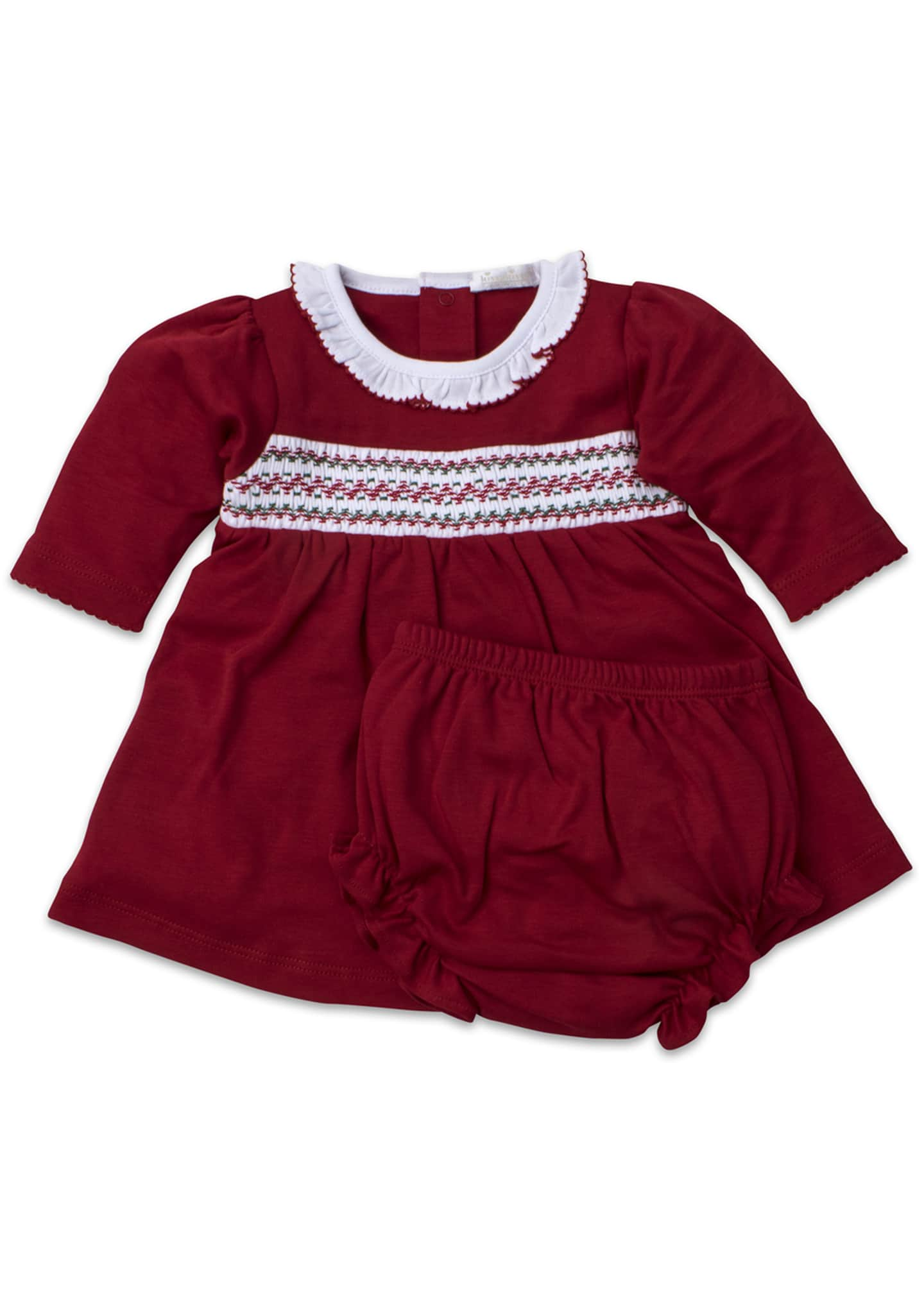 Kissy Kissy Smocked Long-Sleeve Holiday Dress w/ Bloomers,