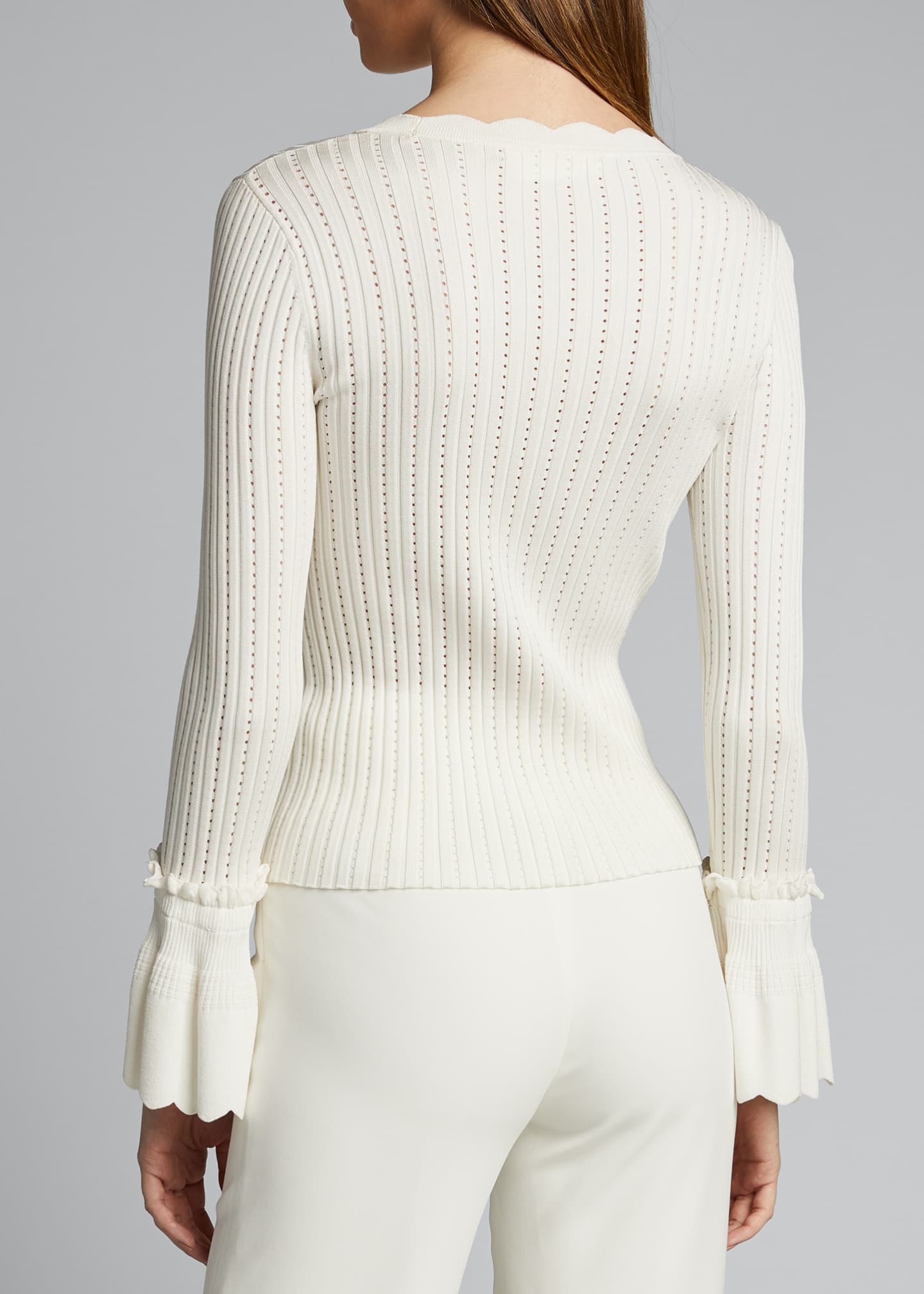 Image 2 of 2: Scalloped Ruffle Crewneck Top