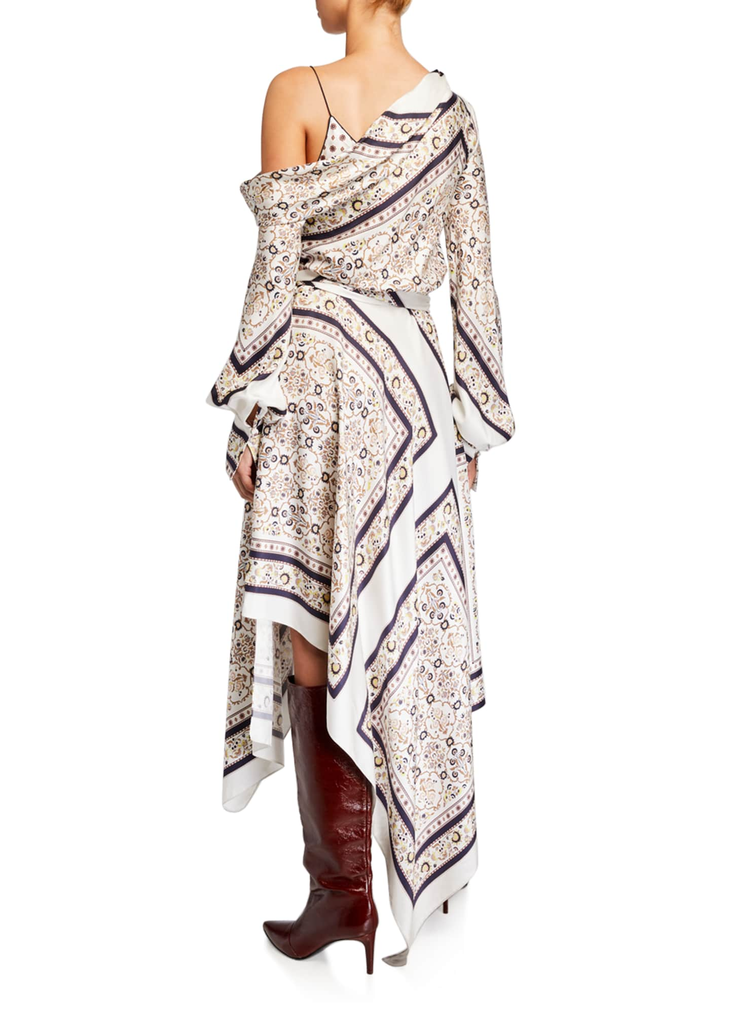 Image 2 of 2: Scarf Print One-Shoulder Dress