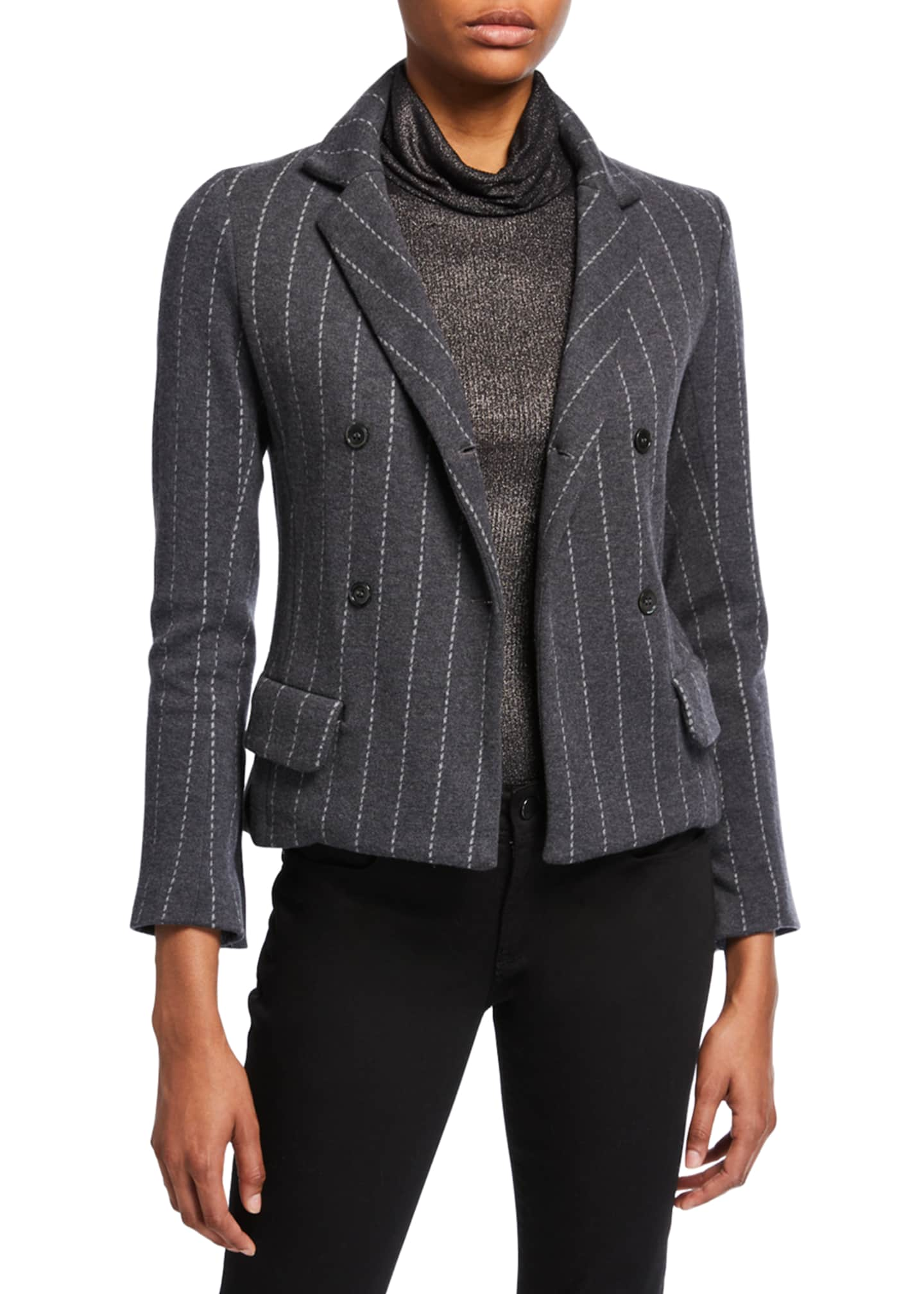 Majestic Striped Long-Sleeve Double-Breasted Blazer