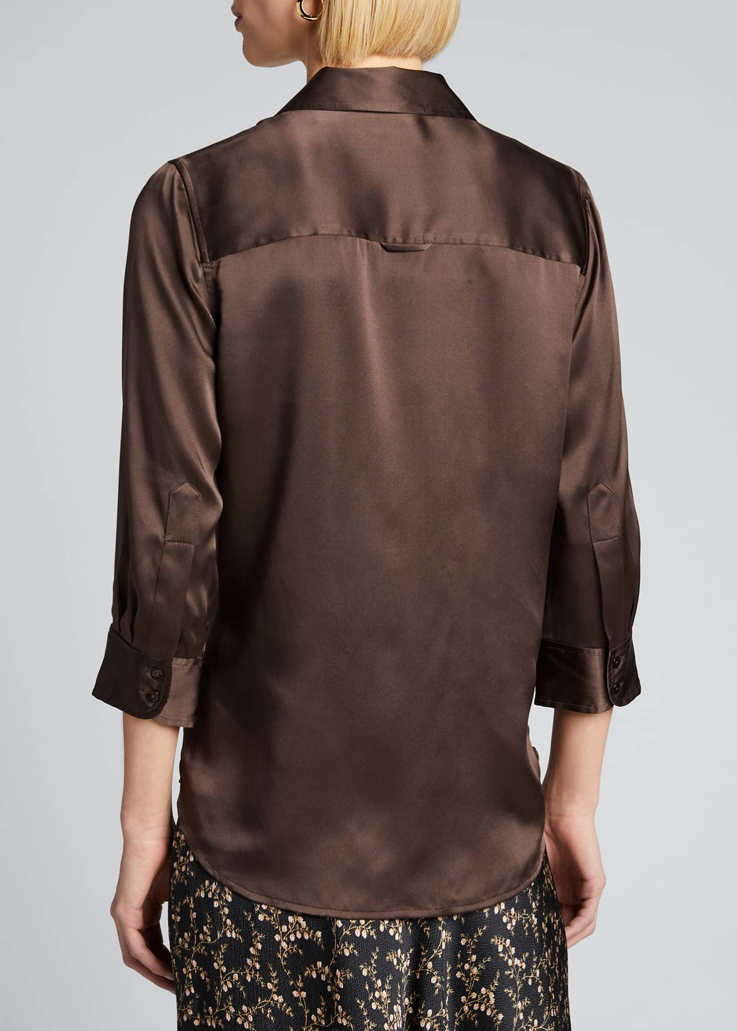 Image 2 of 5: Dani Silk Satin 3/4-Sleeve Button-Down Blouse