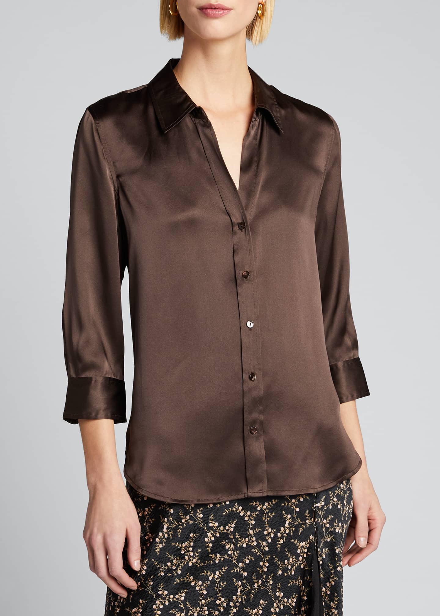 Image 3 of 5: Dani Silk Satin 3/4-Sleeve Button-Down Blouse
