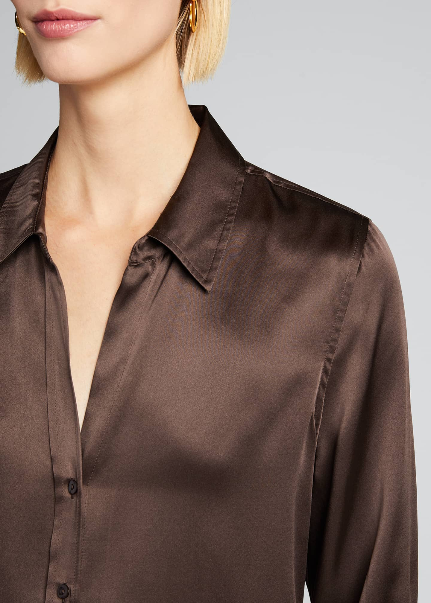 Image 4 of 5: Dani Silk Satin 3/4-Sleeve Button-Down Blouse