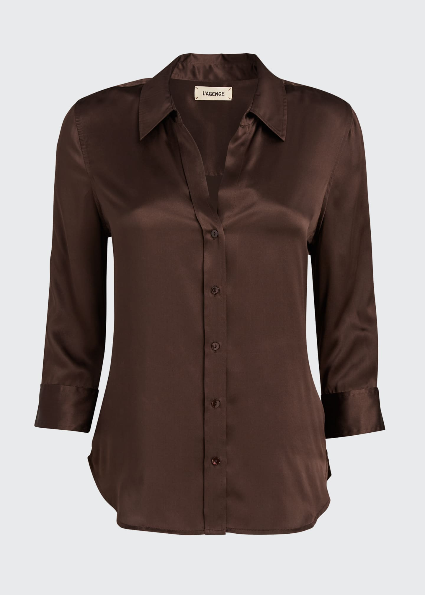 Image 5 of 5: Dani Silk Satin 3/4-Sleeve Button-Down Blouse