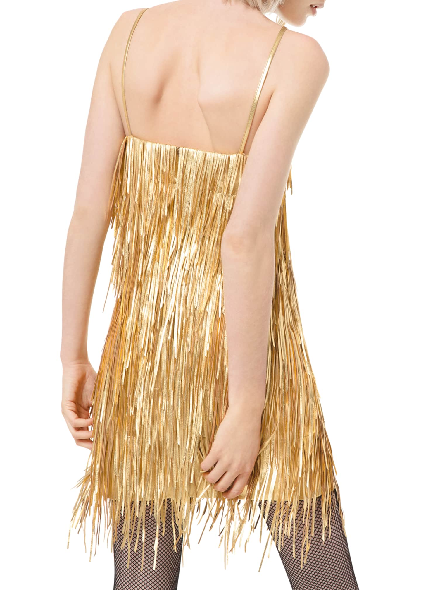Image 2 of 2: Metallic Fringed-Leather Slip Dress