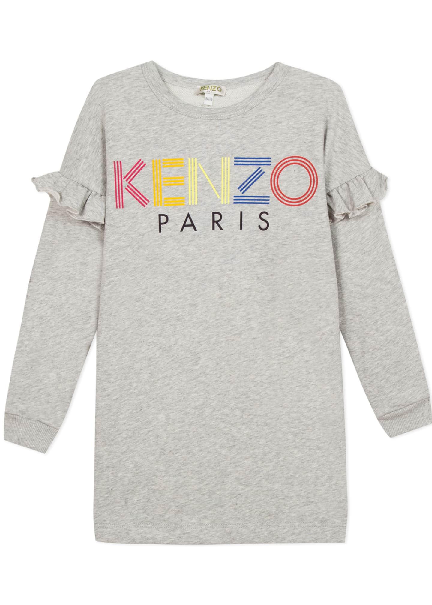 Kenzo Ruffle-Trim Logo Dress, Size 2-6
