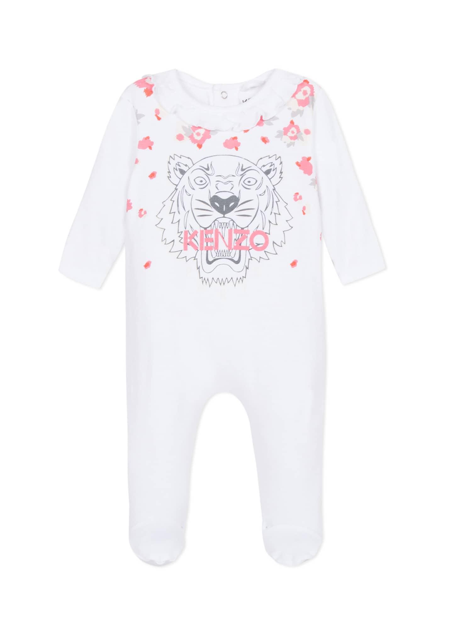 Kenzo Tiger & Flower Print Ruffle-Trim Footie Pajamas,