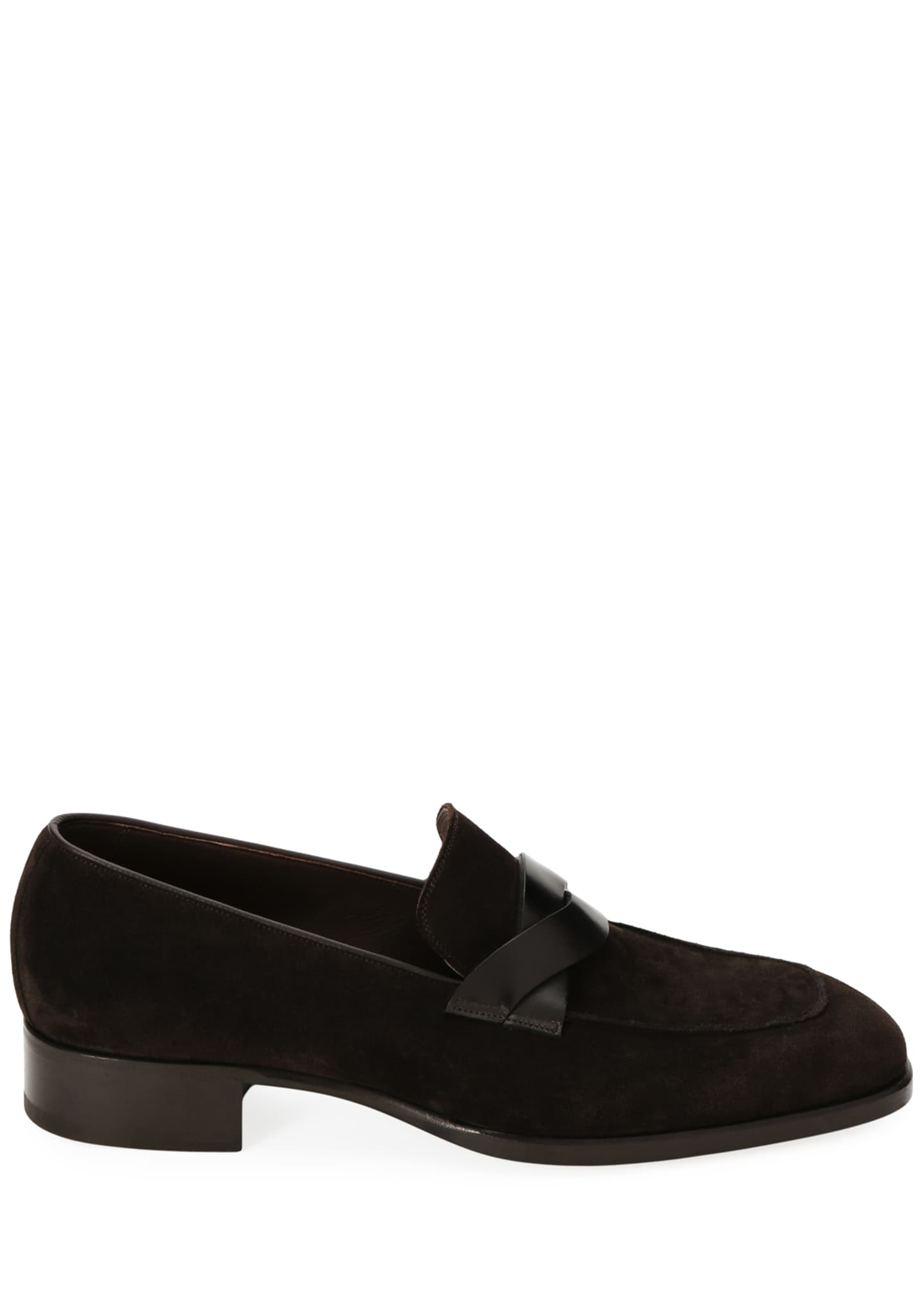 Image 2 of 3: Men's Twisted Strap Suede Loafers