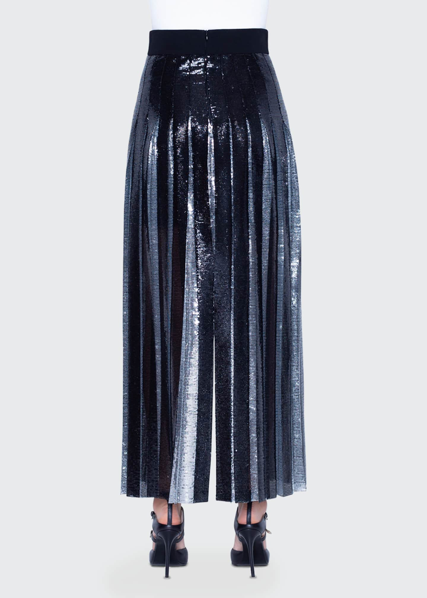Image 2 of 2: Two-Tone Sequined Pleated Skirt