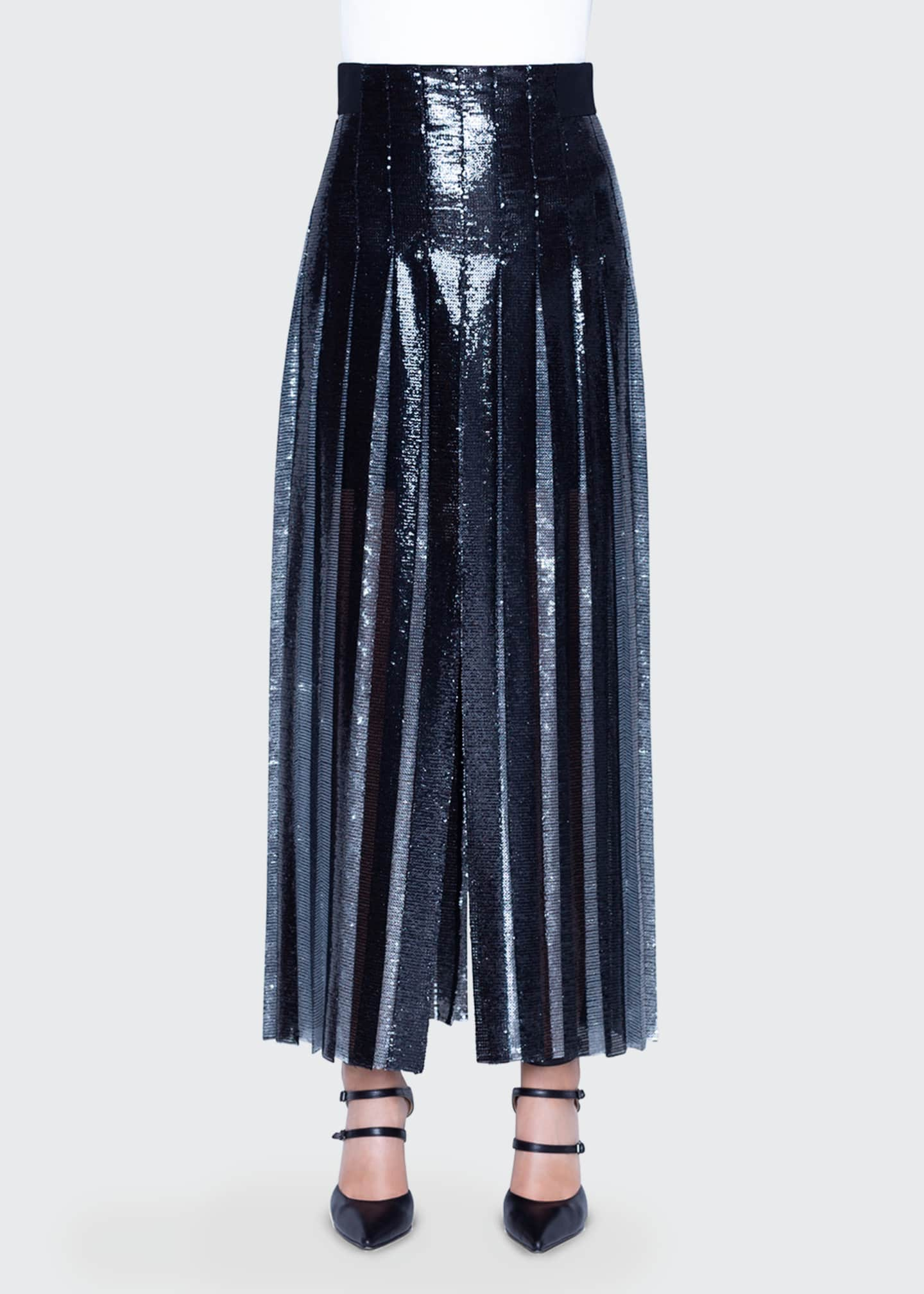 Image 1 of 2: Two-Tone Sequined Pleated Skirt