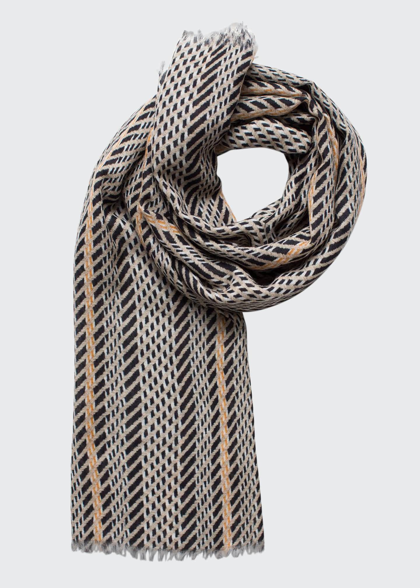 Akris Cashmere-Silk Broken-Stripe Scarf