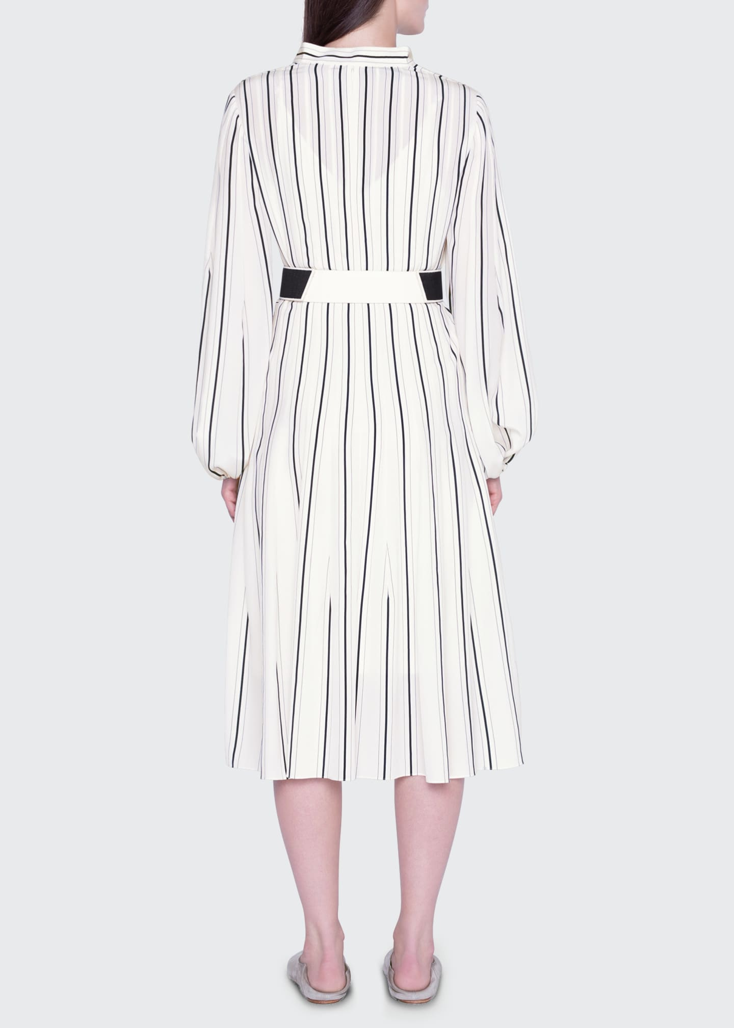 Image 2 of 3: Striped Silk Banded-Collar Dress