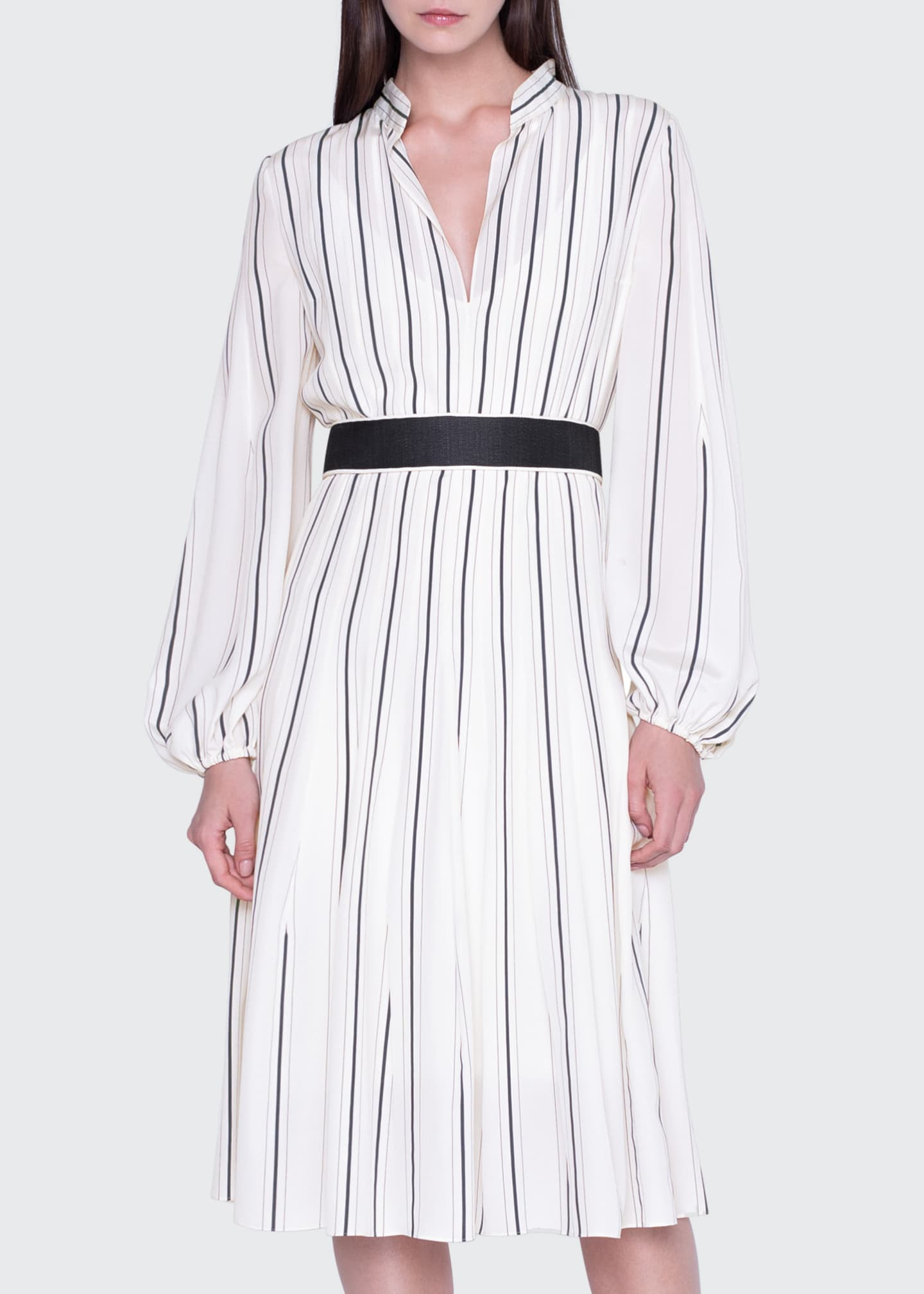 Image 1 of 3: Striped Silk Banded-Collar Dress