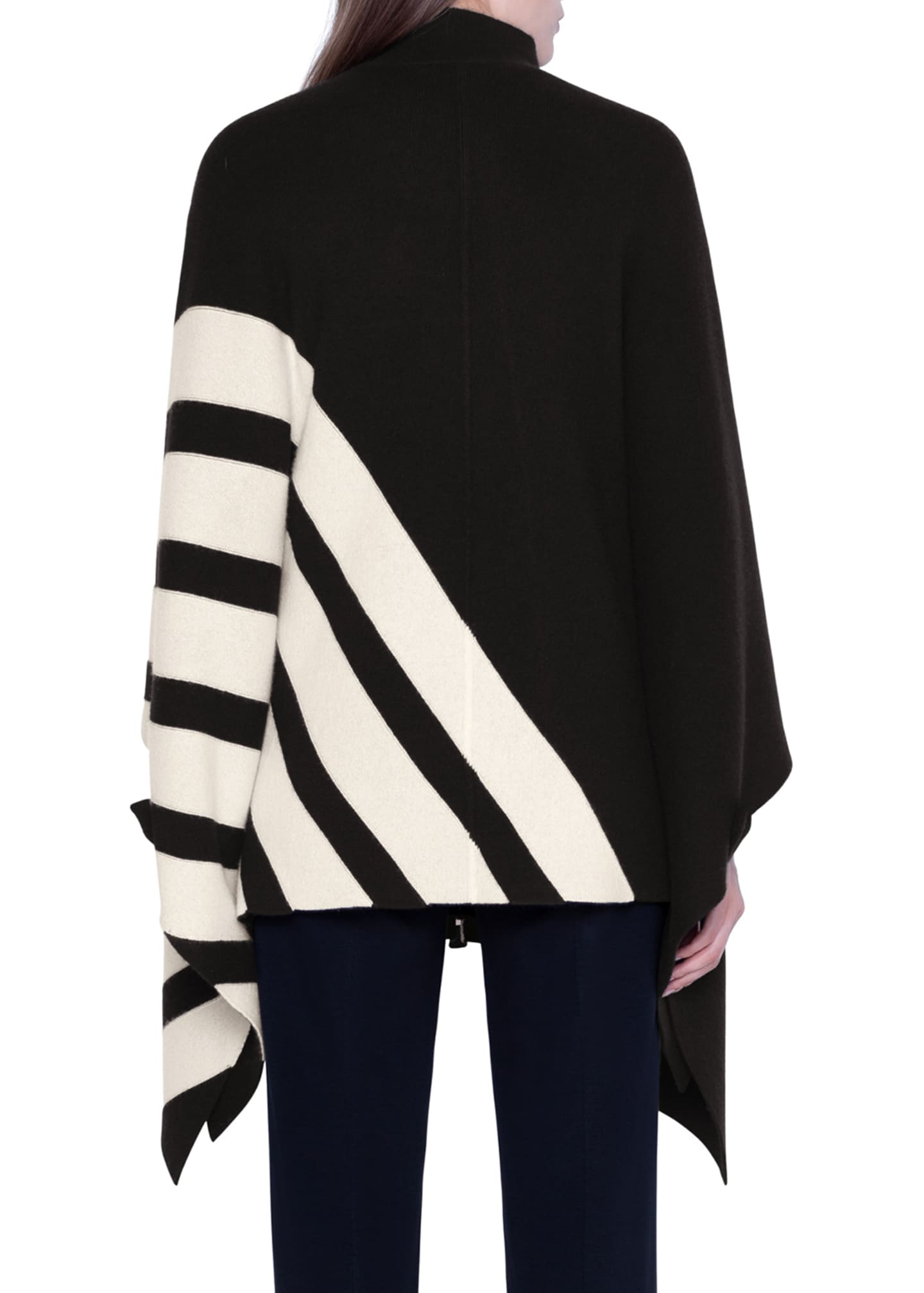 Image 2 of 2: Cashmere Diagonal-Striped Cape Sweater