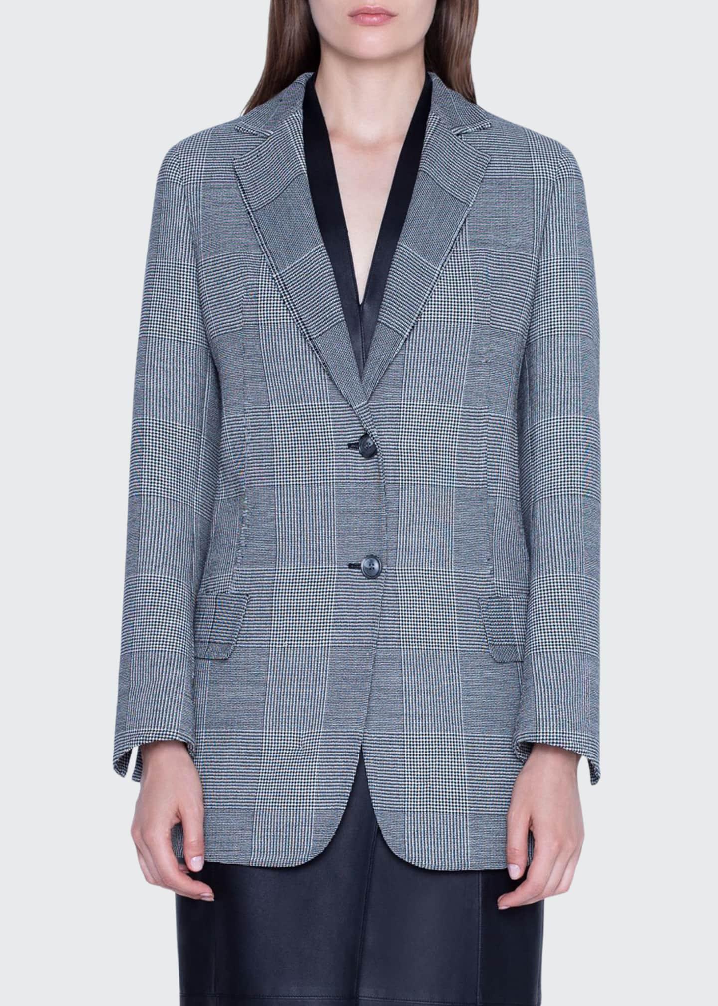 Akris Oversized Prince-of-Wale Mesnwear Jacket