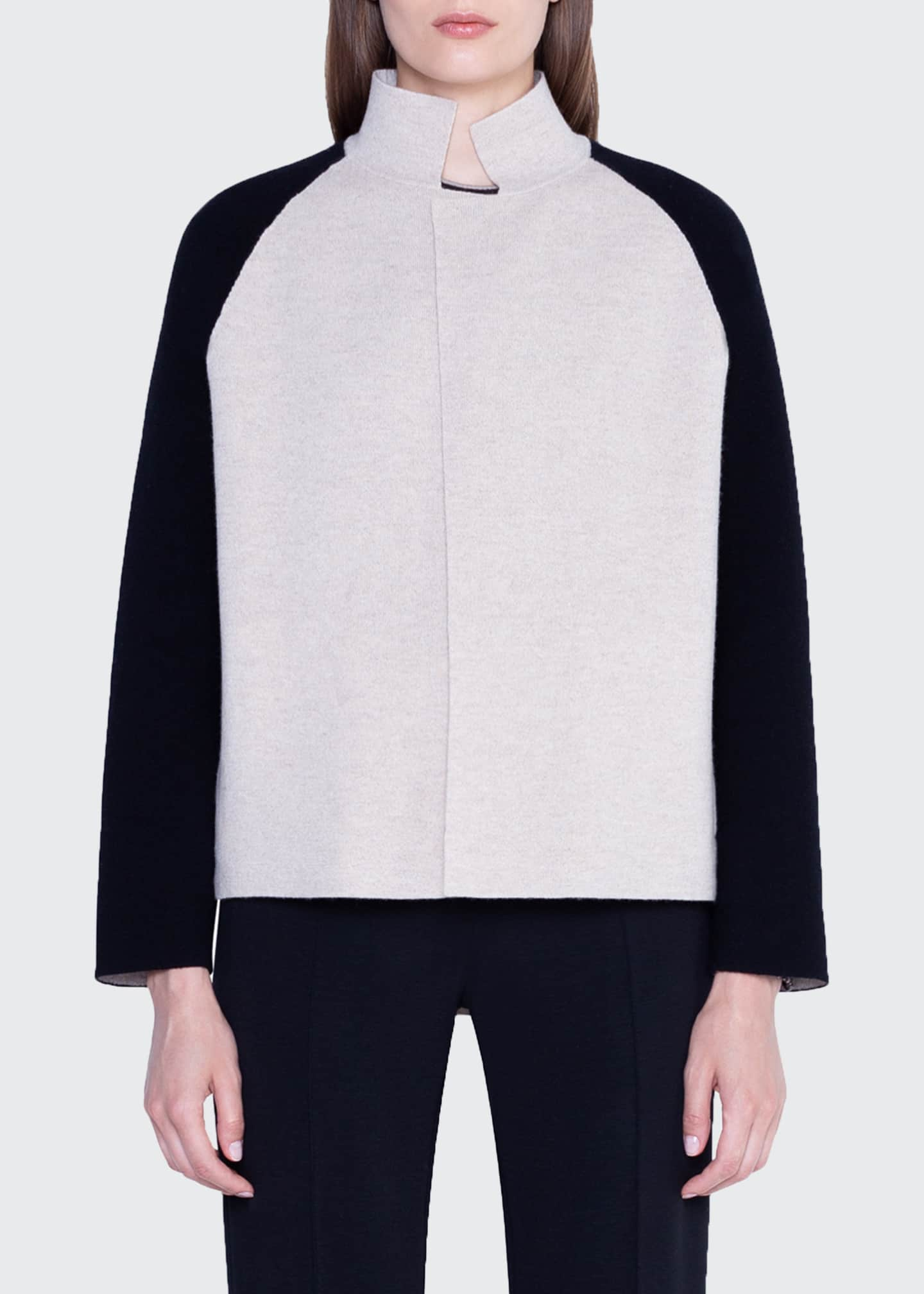 Image 1 of 2: Cashmere Colorblock Open-Front Jacket