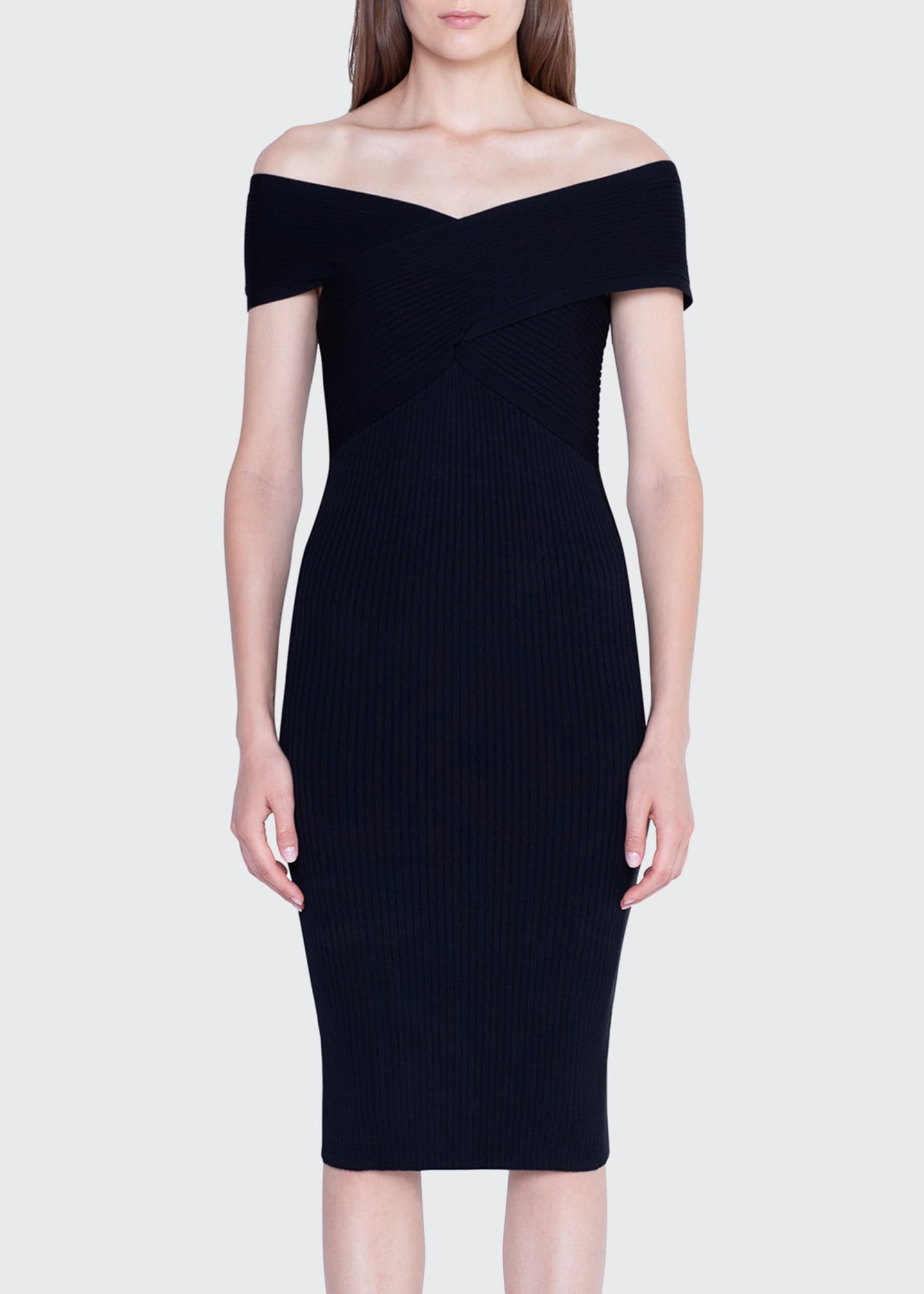 Image 3 of 3: Crisscross Off-the-Shoulder Bodycon Dress