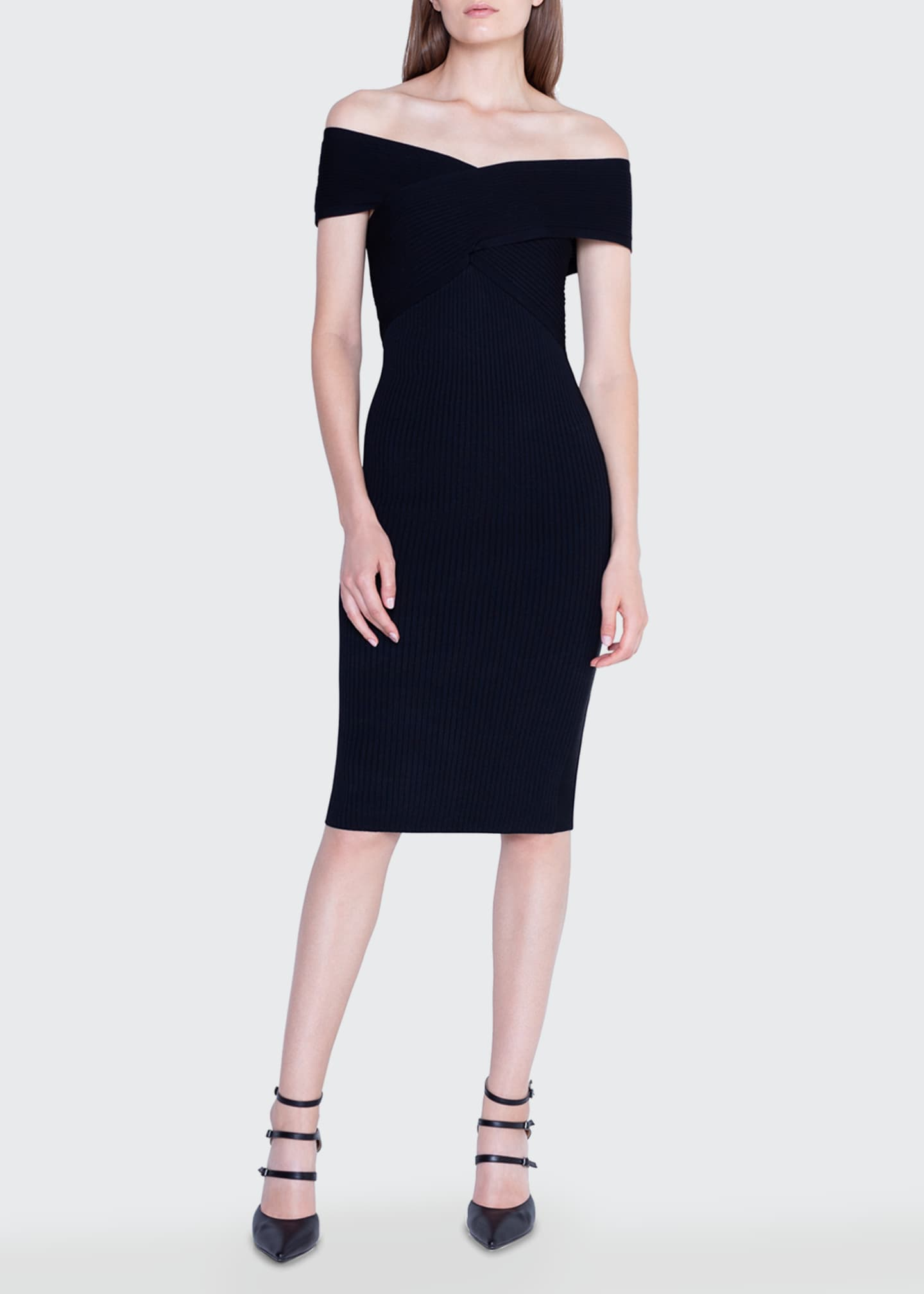 Image 1 of 3: Crisscross Off-the-Shoulder Bodycon Dress
