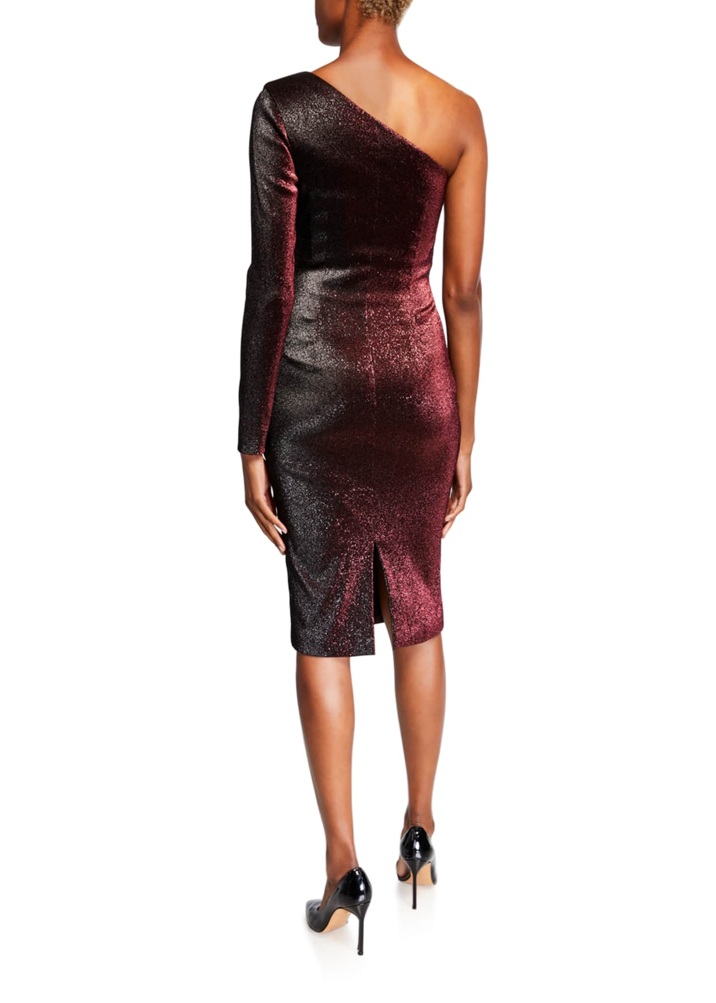 Image 2 of 2: One-Shoulder Metallic Stretch Knee-Length Cocktail Dress