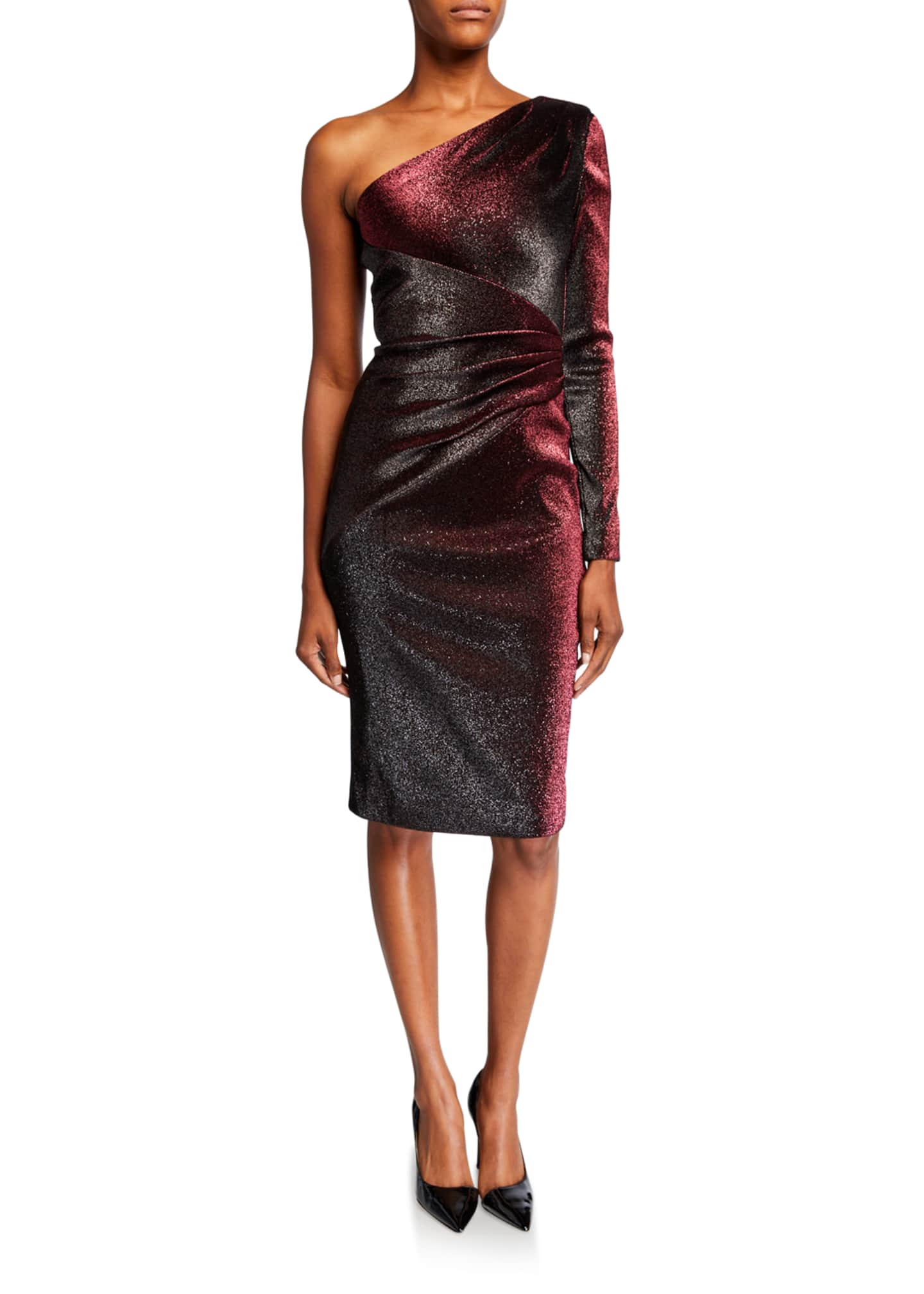 Image 1 of 2: One-Shoulder Metallic Stretch Knee-Length Cocktail Dress