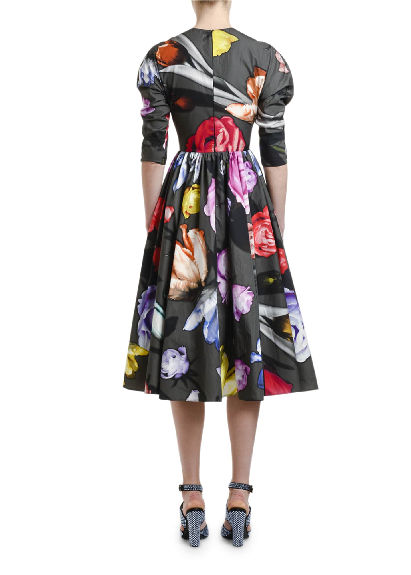 Image 2 of 3: Floral-Print Poplin Puff-Sleeve Dress