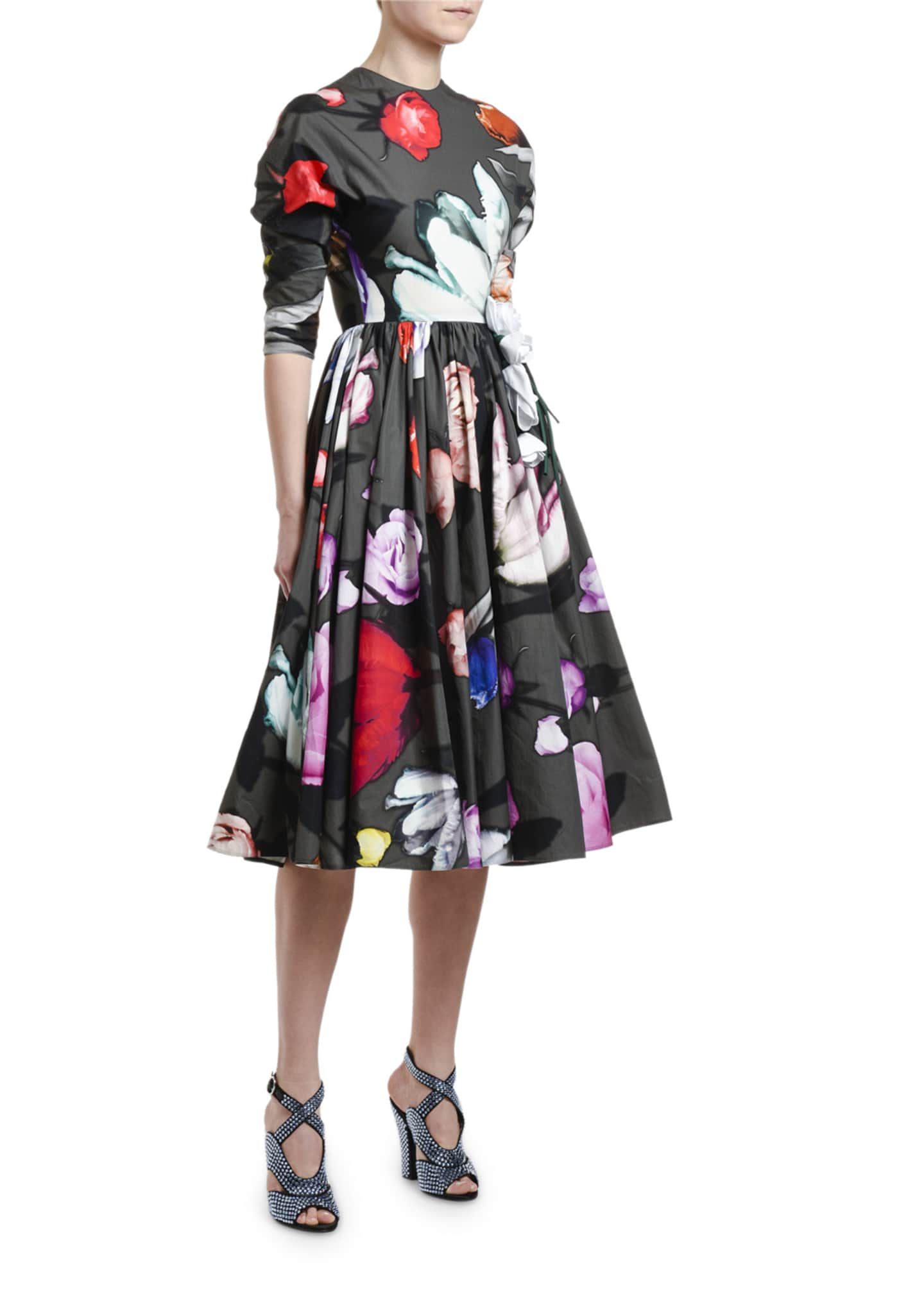Image 3 of 3: Floral-Print Poplin Puff-Sleeve Dress