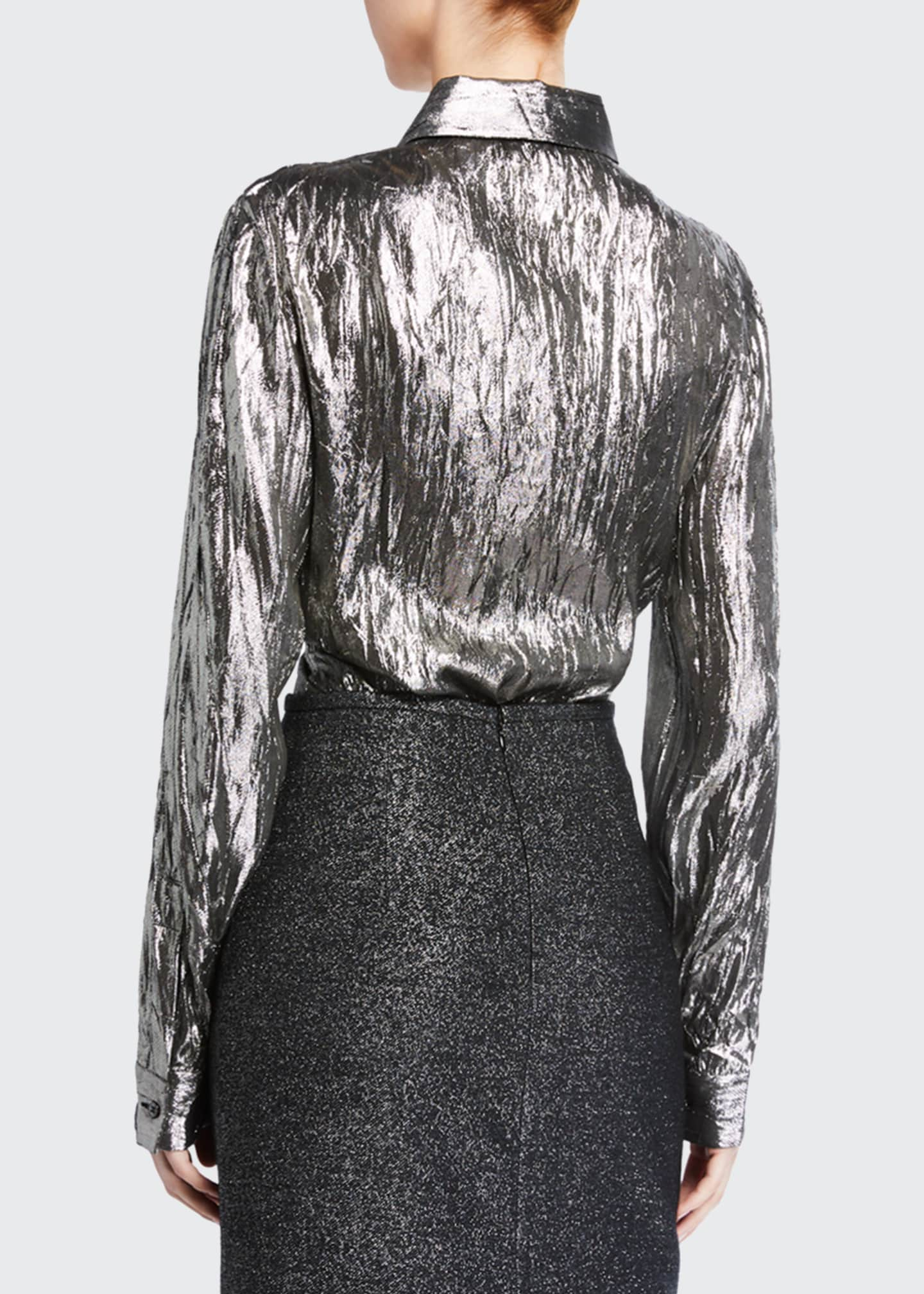Image 2 of 4: Crushed Metallic Button-Front Shirt