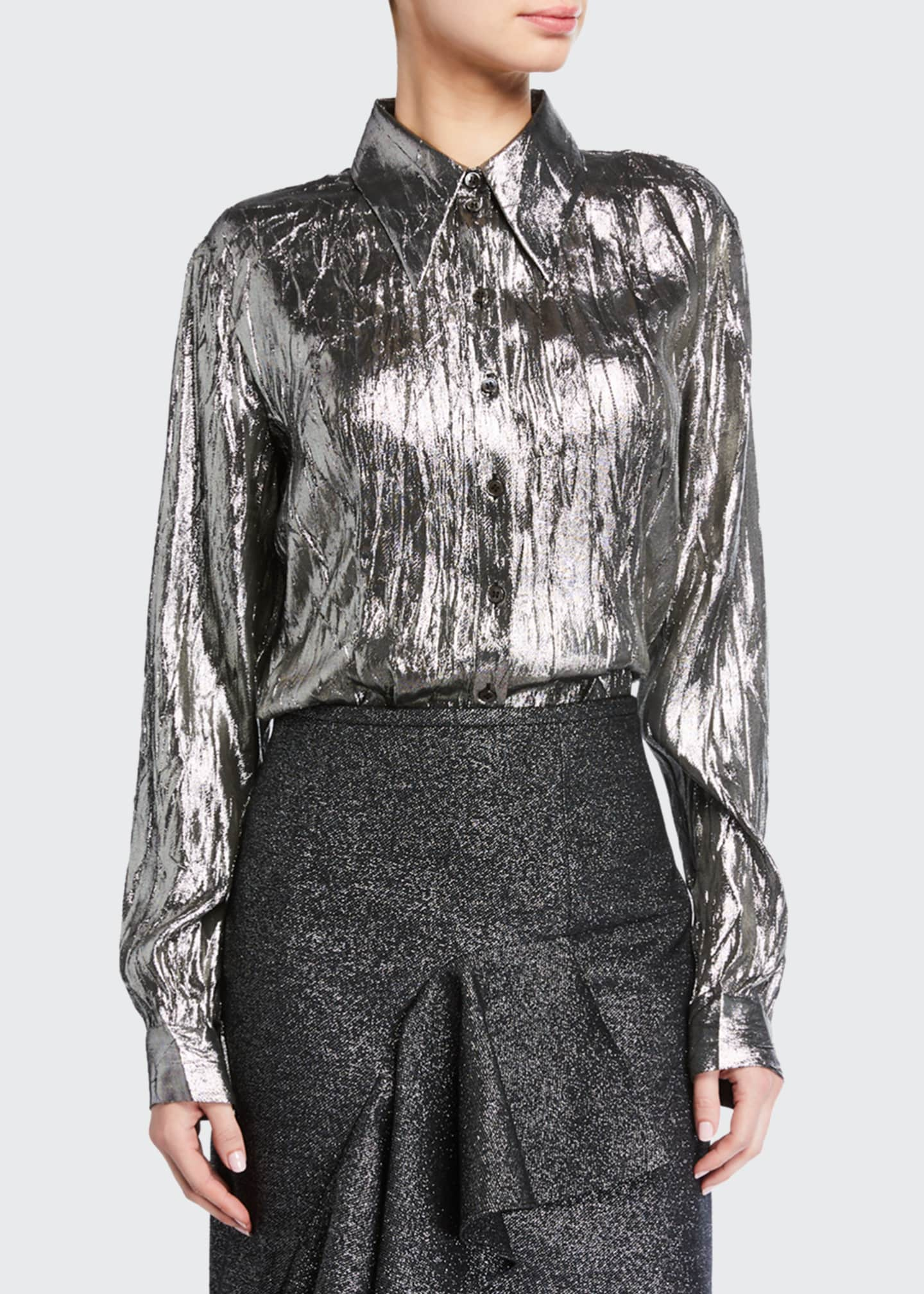 Image 1 of 4: Crushed Metallic Button-Front Shirt