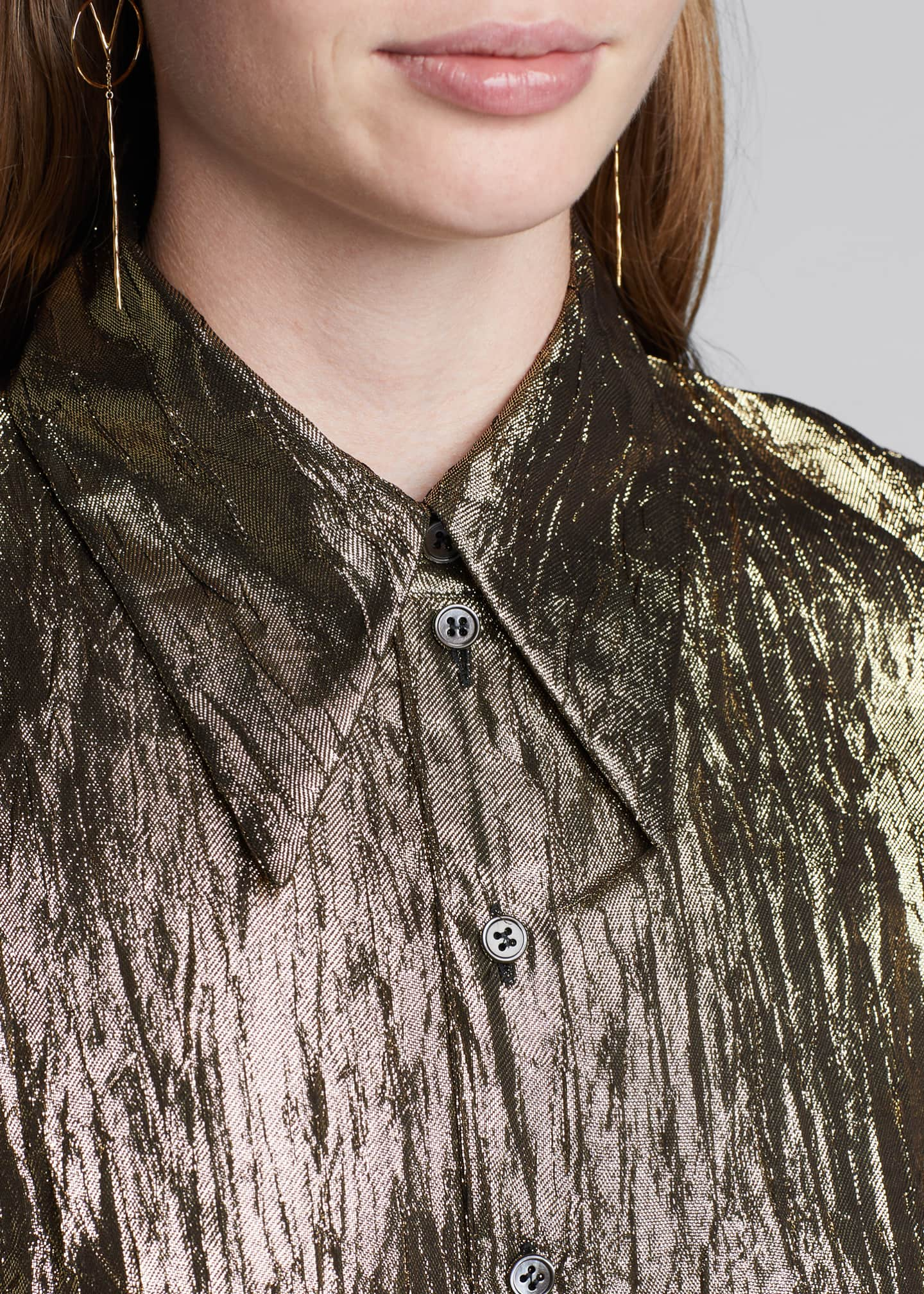 Image 3 of 4: Crushed Metallic Button-Front Shirt