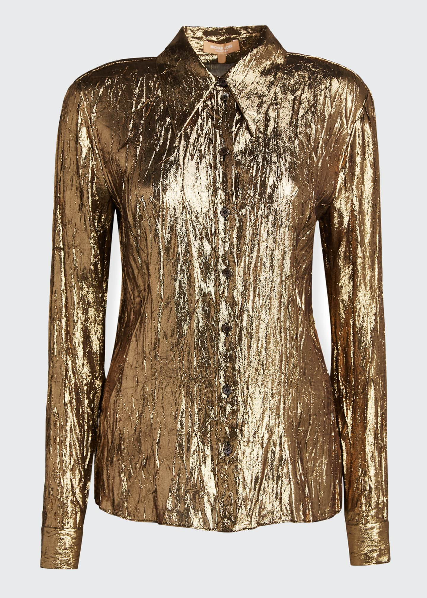 Image 4 of 4: Crushed Metallic Button-Front Shirt