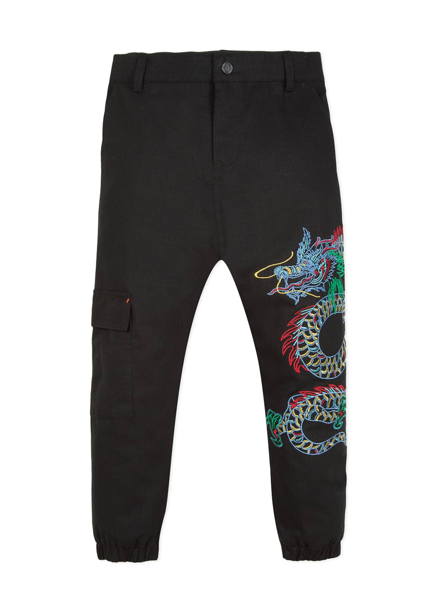 Kenzo Japanese Dragon Embroidered Cargo Pants, Size 8-12