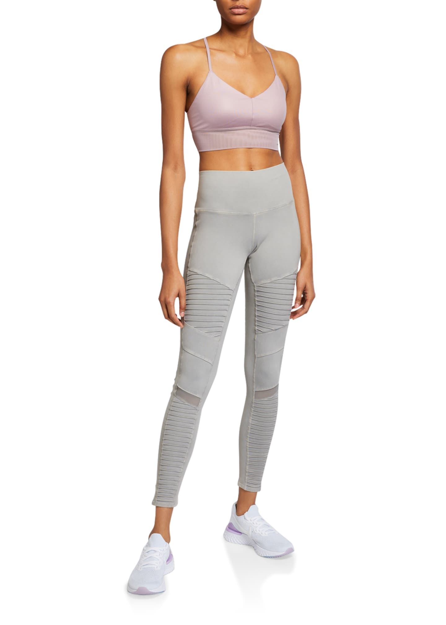 Image 3 of 3: High-Waist Washed Moto Leggings