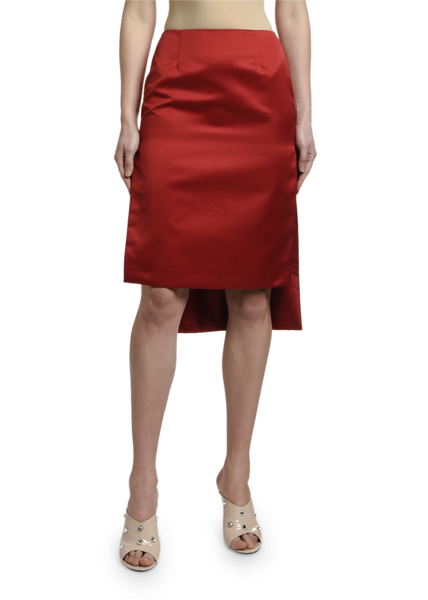 Image 2 of 3: High-Low Satin Pencil Skirt