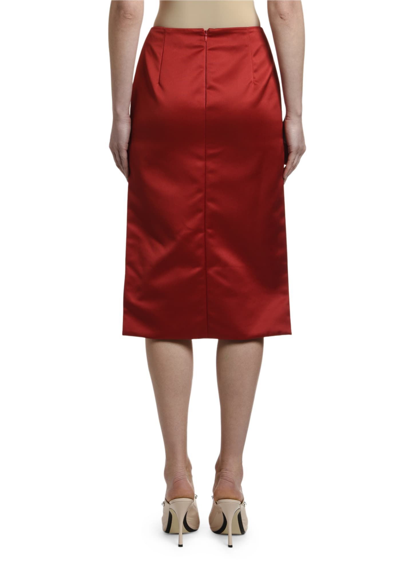 Image 3 of 3: High-Low Satin Pencil Skirt