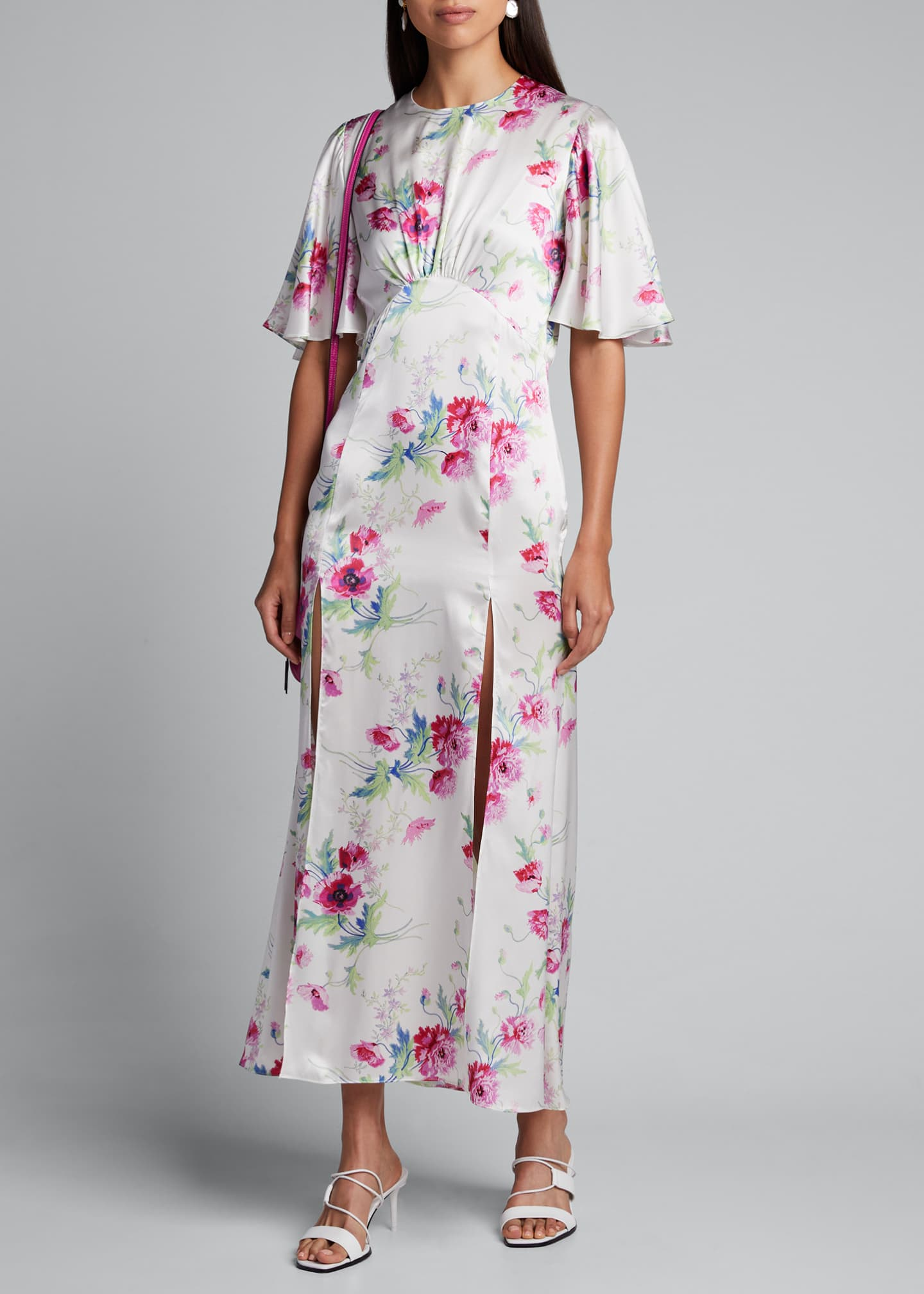 Les Reveries Flutter-Sleeve Split-Front Floral Dress