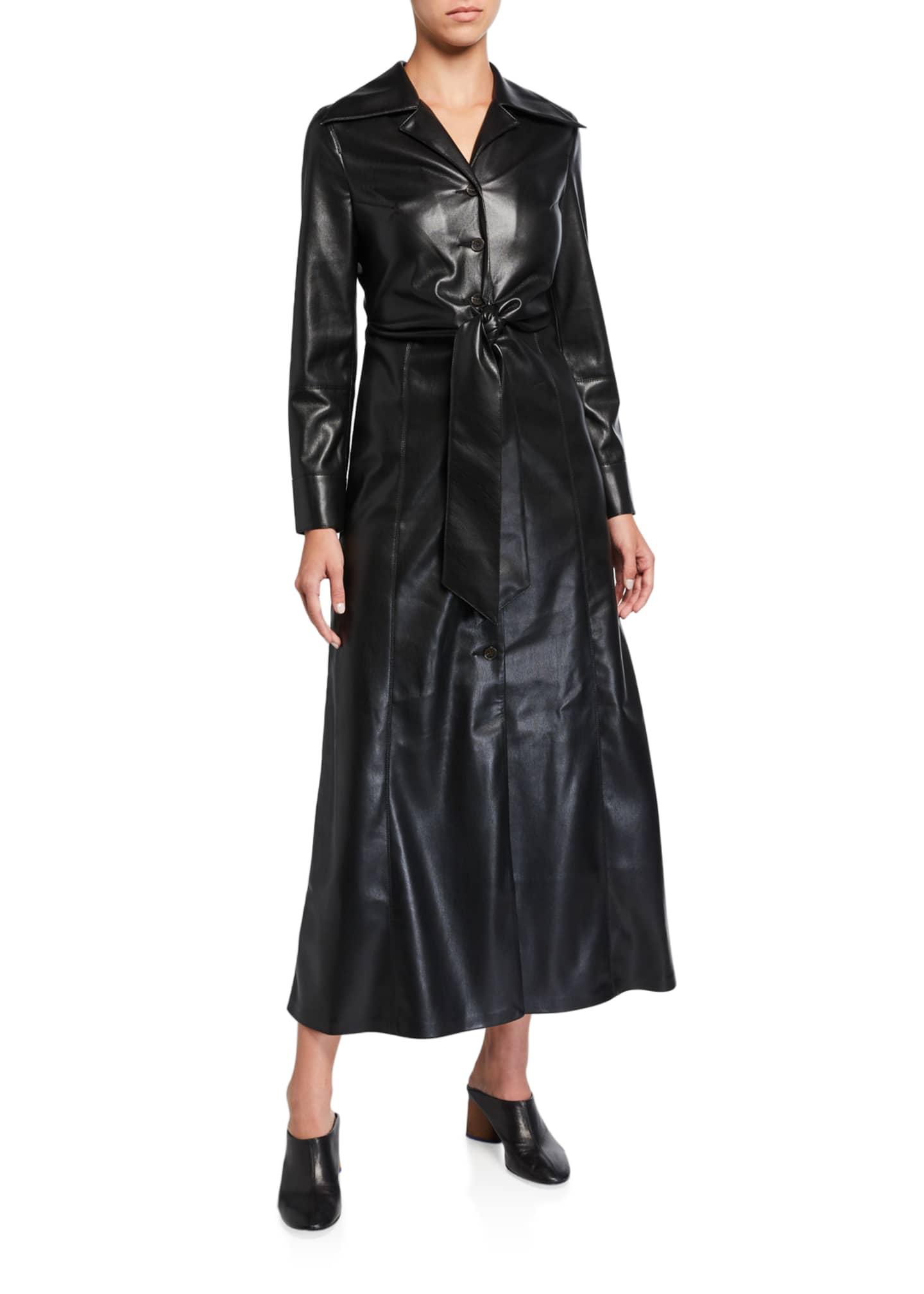 Nanushka Tarot Vegan Leather Tie-Waist Dress