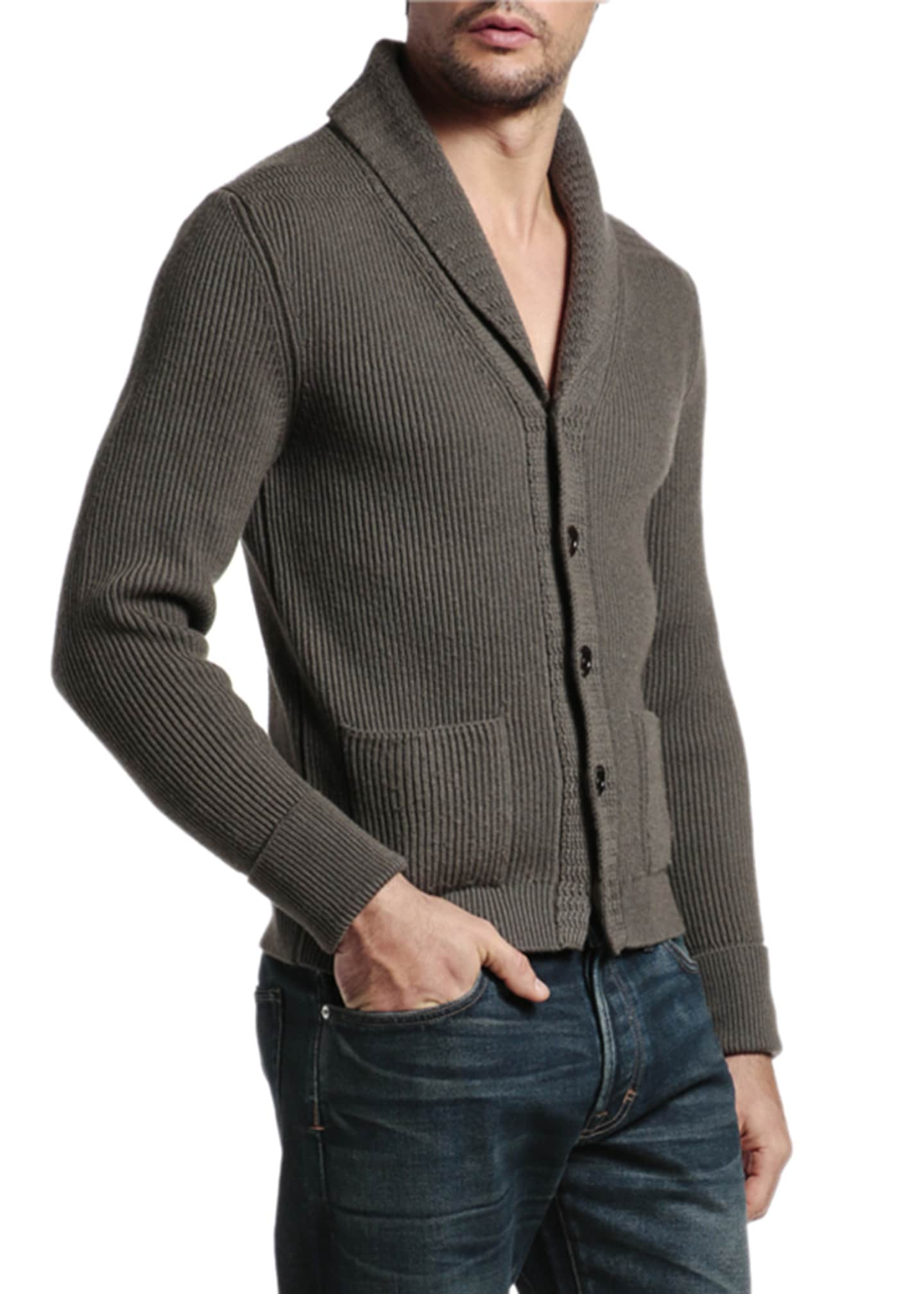 Image 2 of 4: Men's Cashmere Shawl-Collar Cardigan Sweater