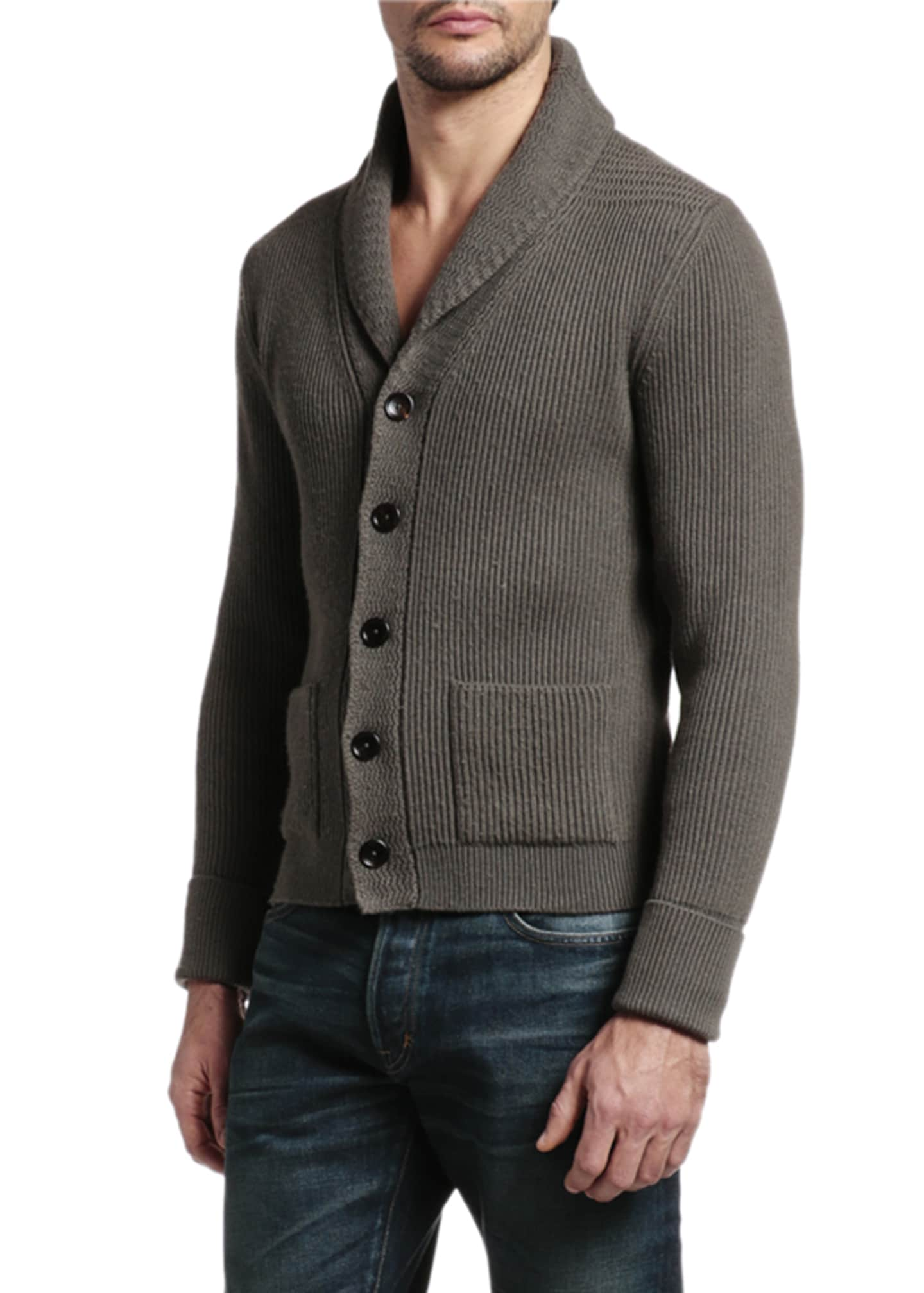 Image 3 of 4: Men's Cashmere Shawl-Collar Cardigan Sweater