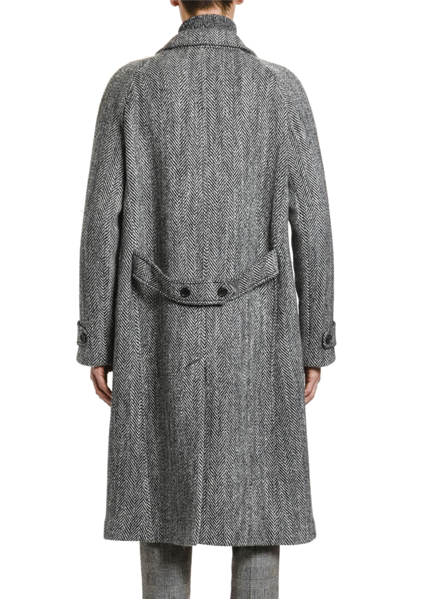 Image 2 of 3: Men's Herringbone Oversized Wool Coat