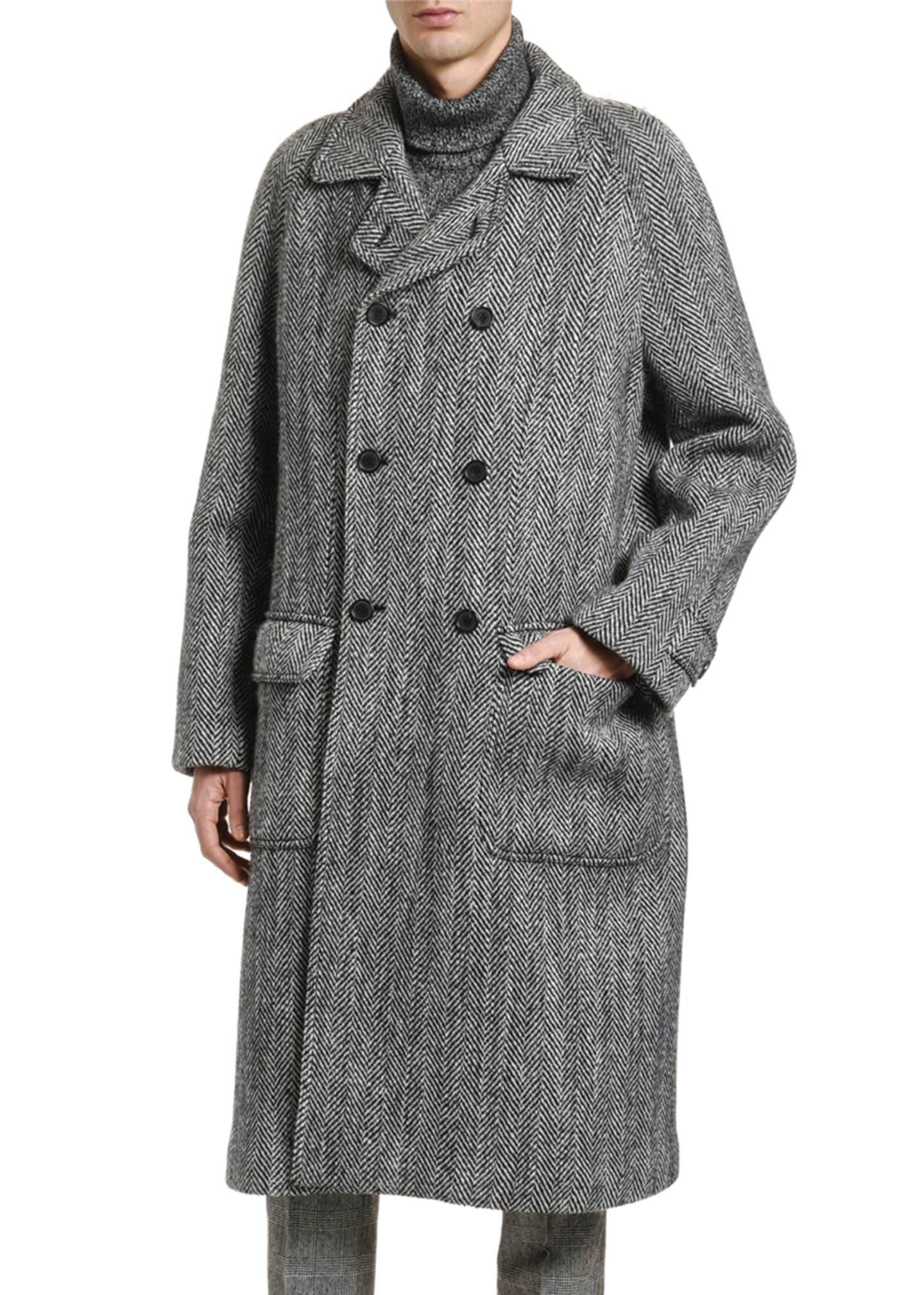 Image 3 of 3: Men's Herringbone Oversized Wool Coat