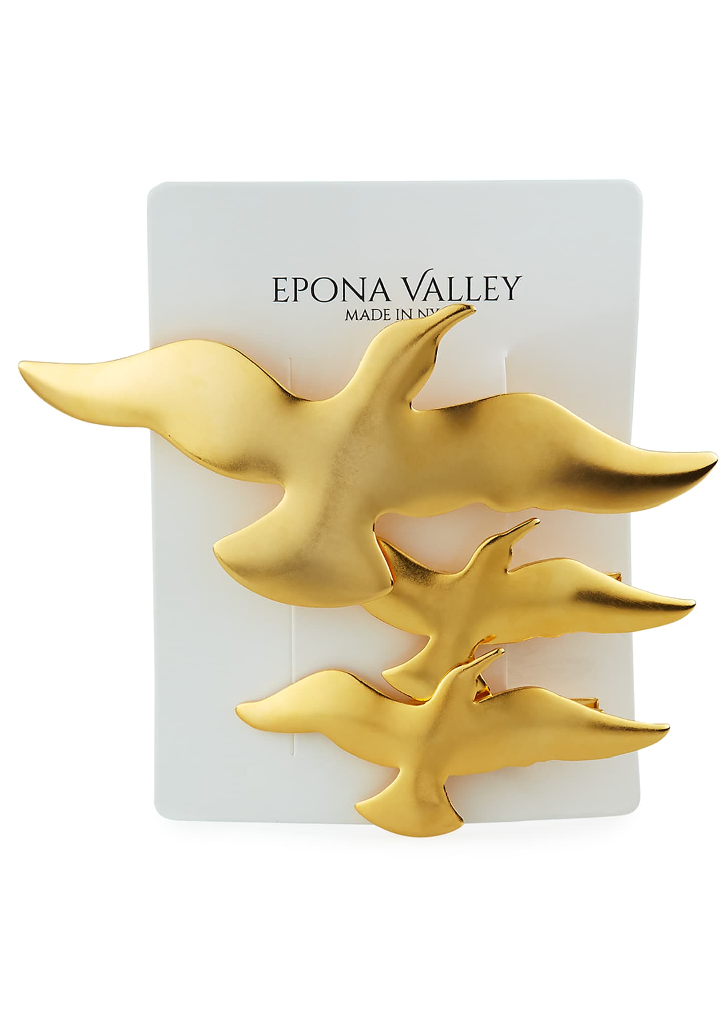 Image 2 of 3: 14K Gold Plated Bird Hair Clips, Set of 3