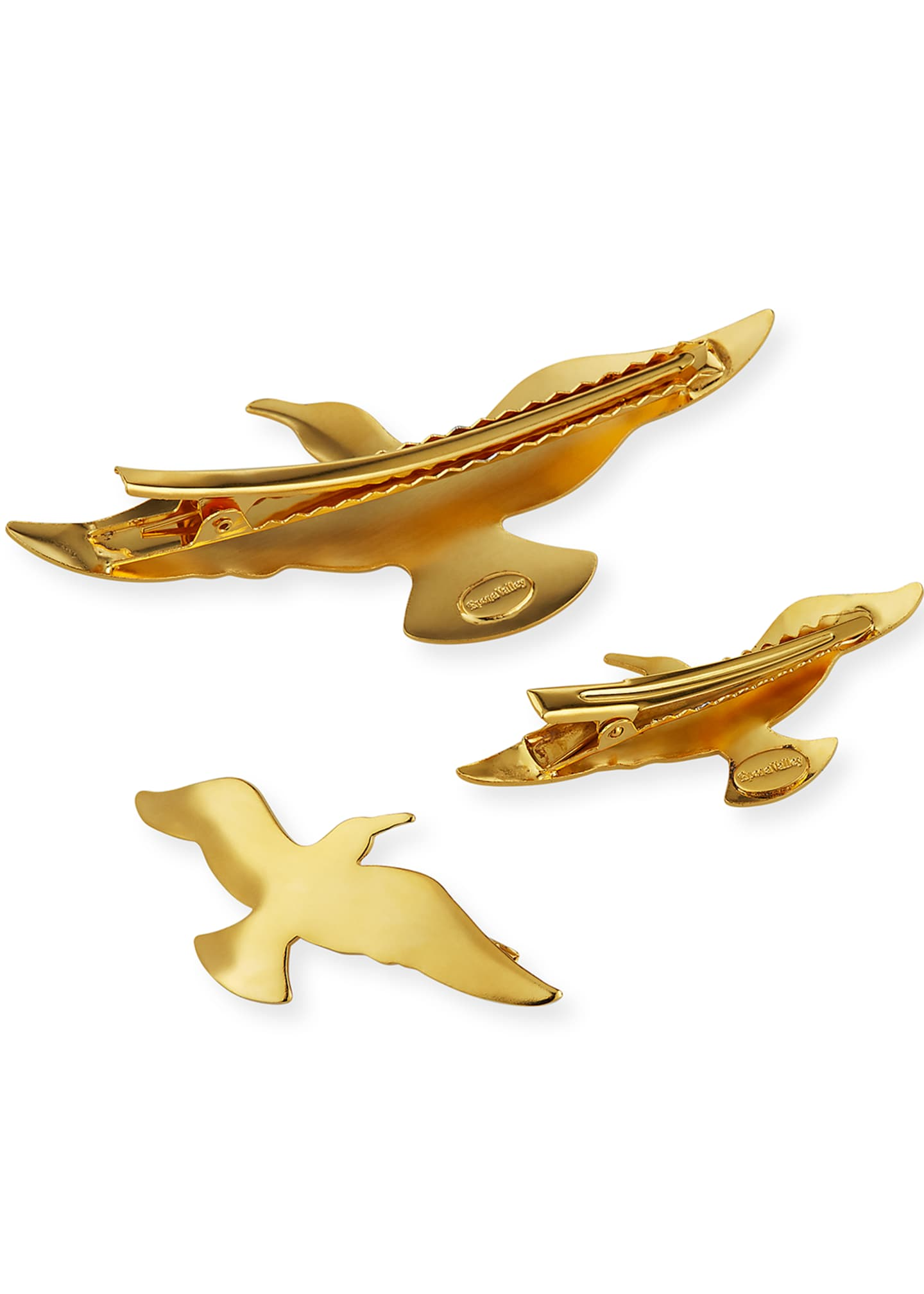 Image 3 of 3: 14K Gold Plated Bird Hair Clips, Set of 3