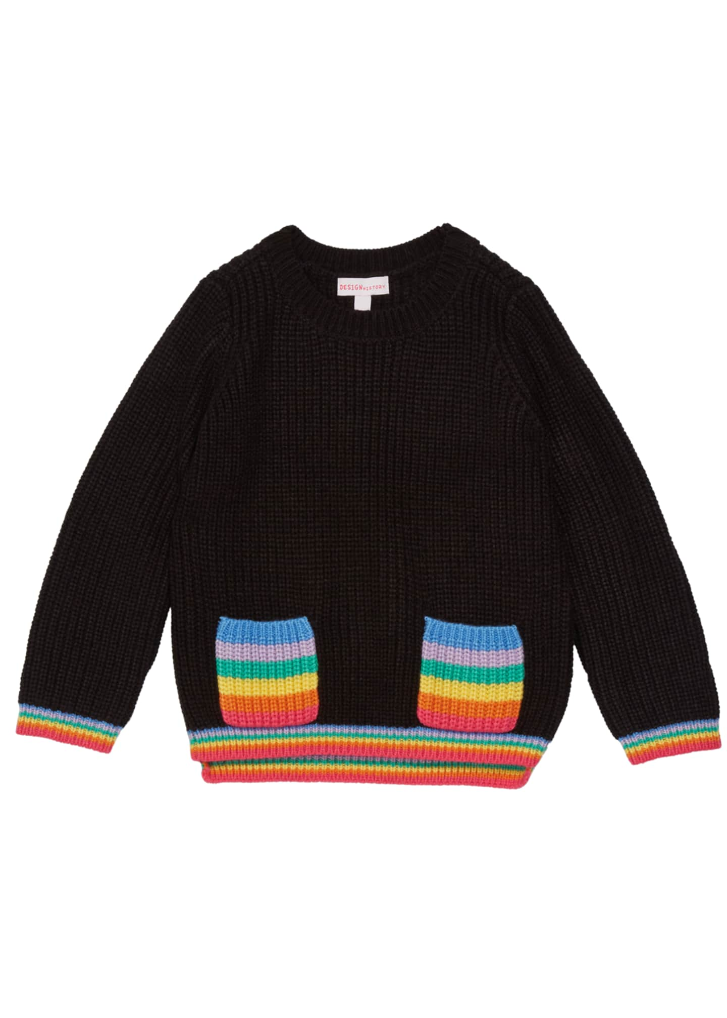 Design History Girls Girl's Rainbow Pocket Sweater, Size