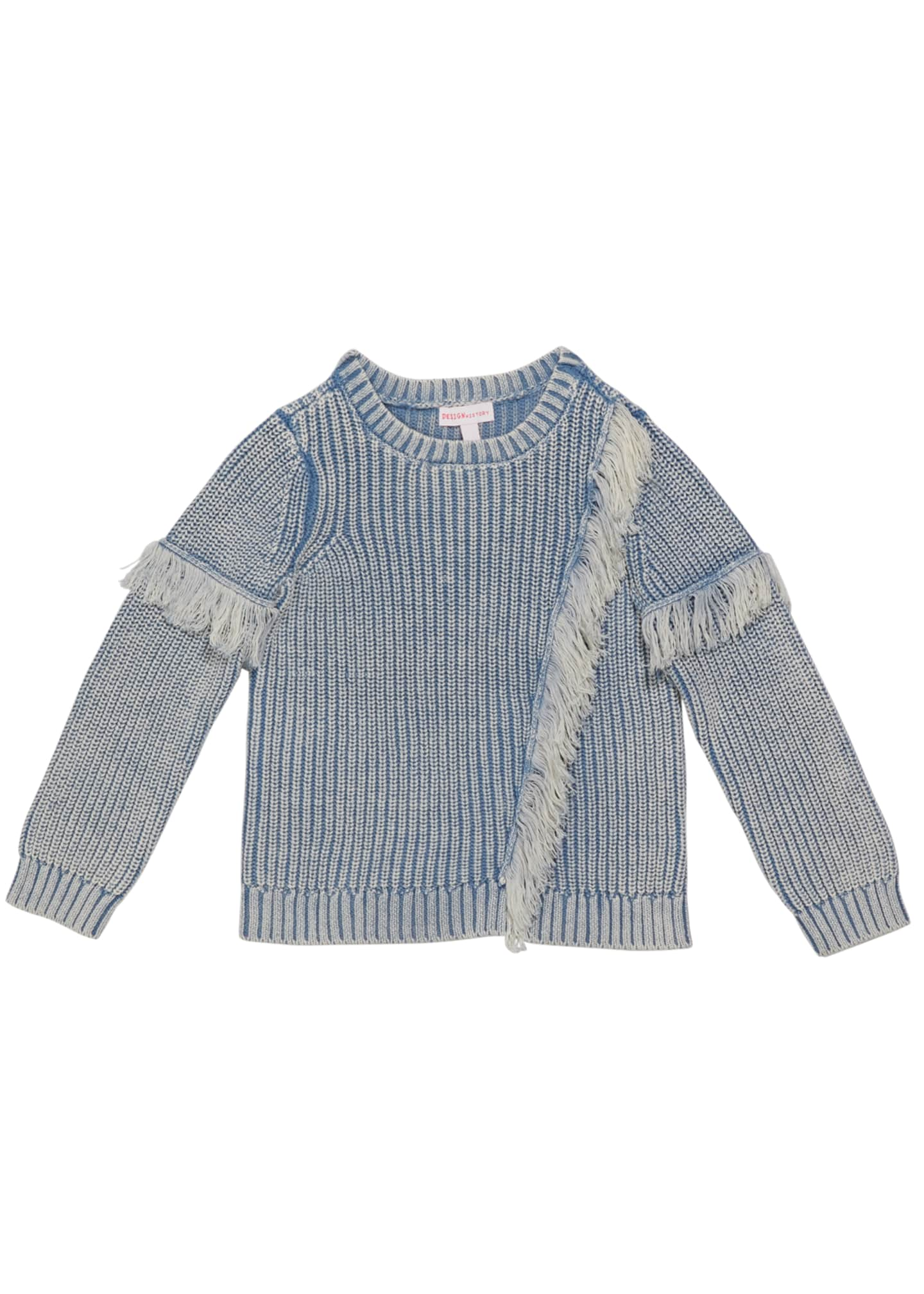 Image 1 of 1: Girl's Denim Colored Fringe Sweater, Size 2-6X
