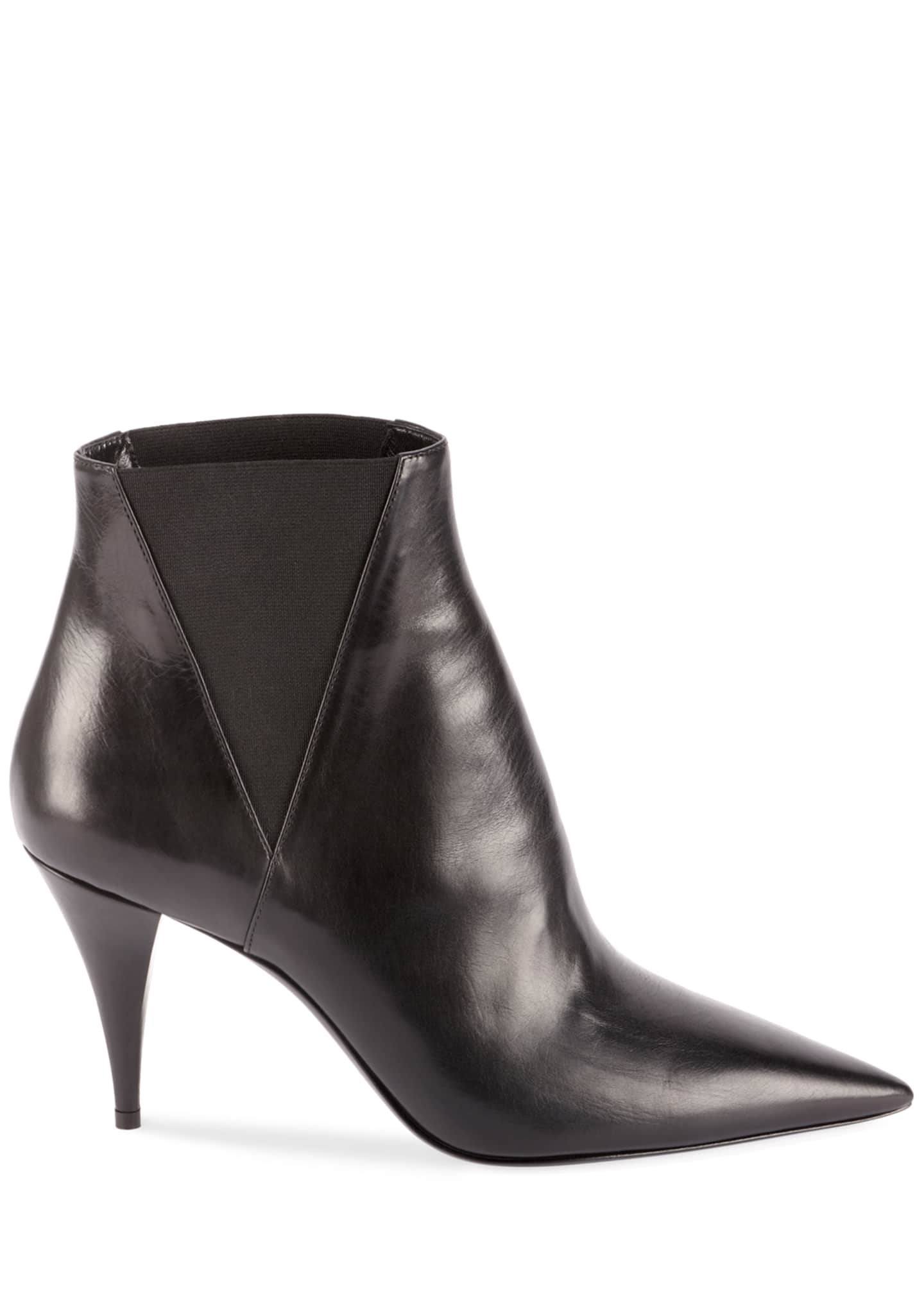 Image 2 of 4: Kiki Pointed Toe Leather Booties