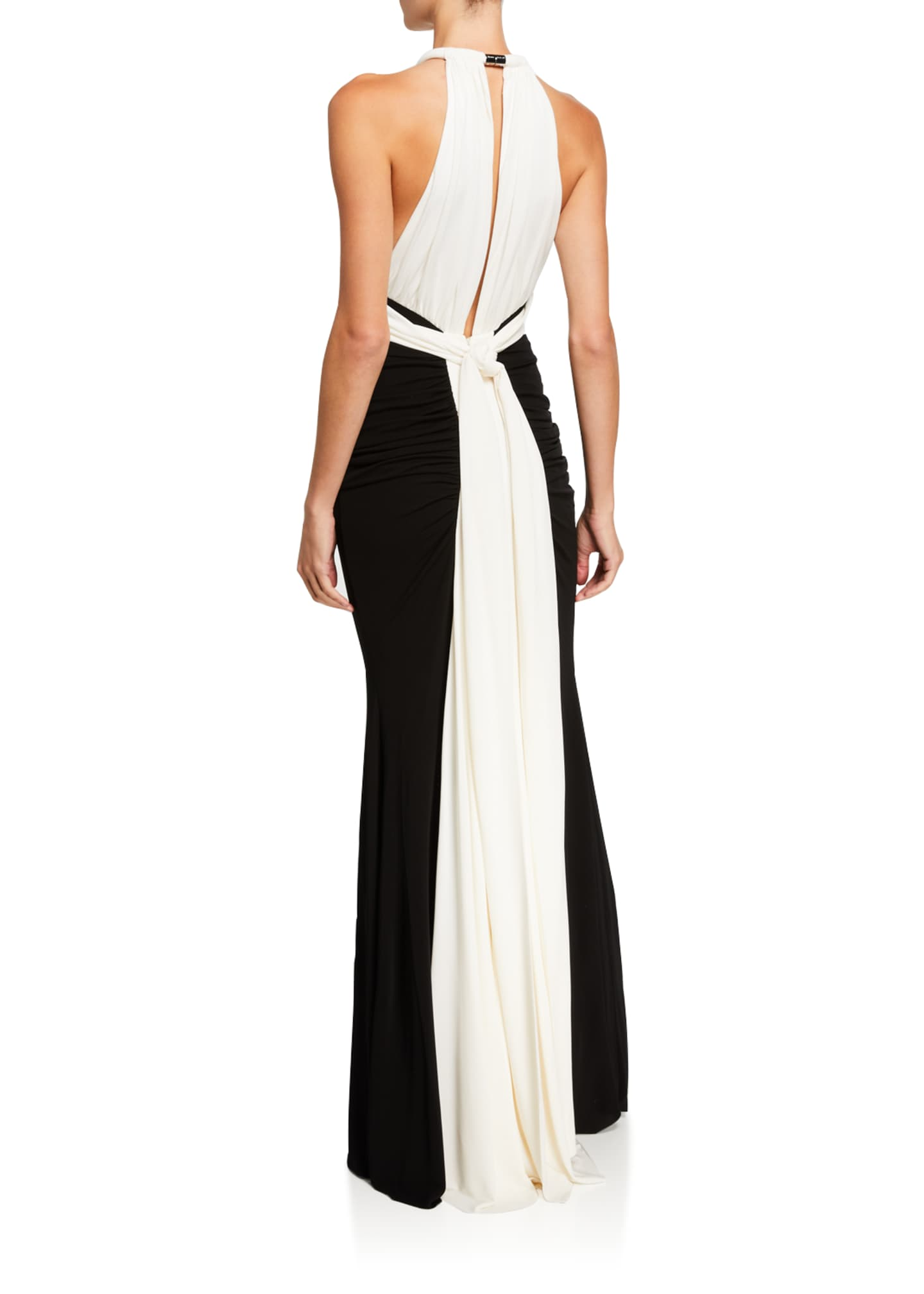 Image 2 of 2: Ruched Two-Tone Jersey Halter-Neck Gown