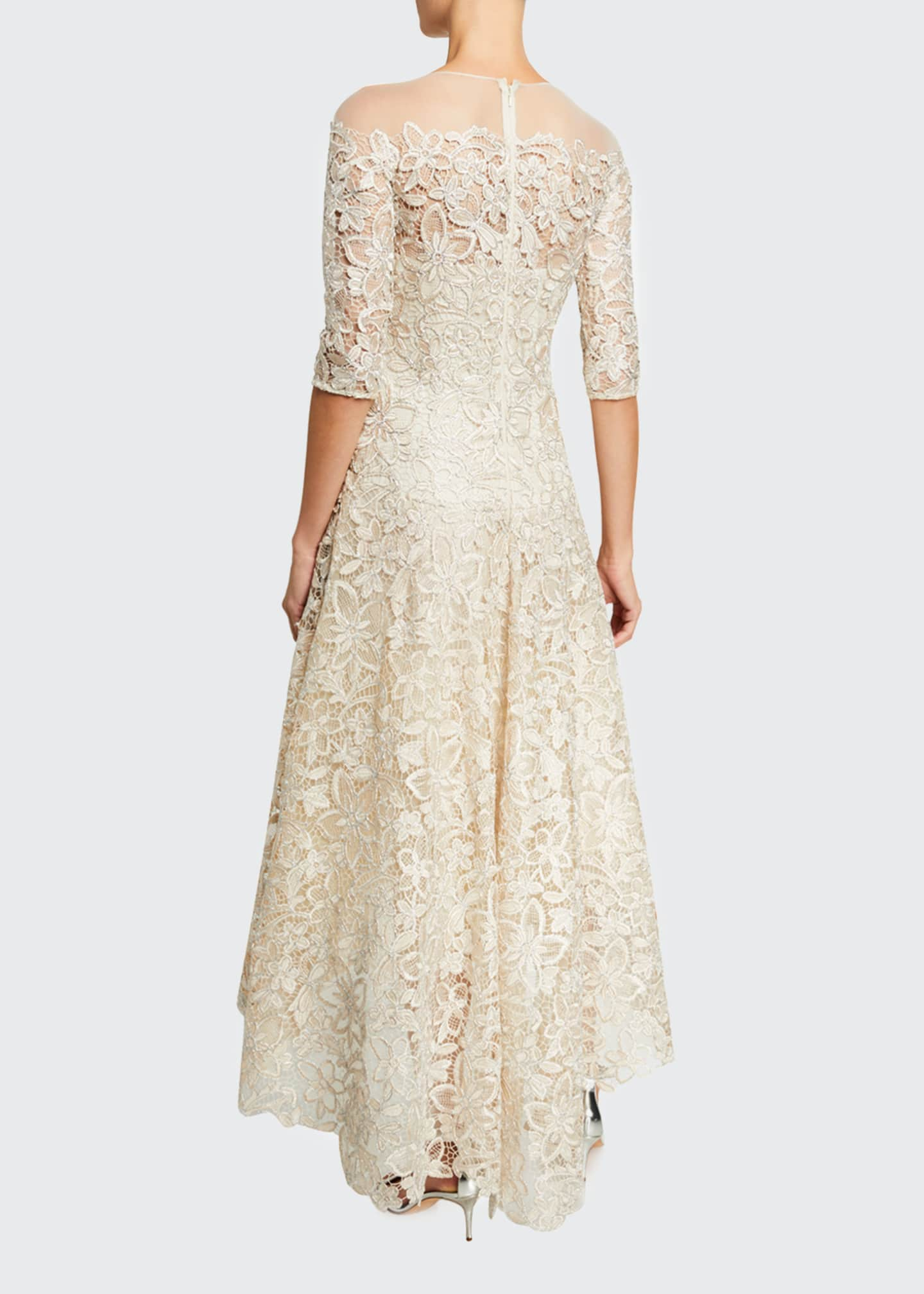 Image 2 of 2: Lace High-Low Mesh-Yoke Gown